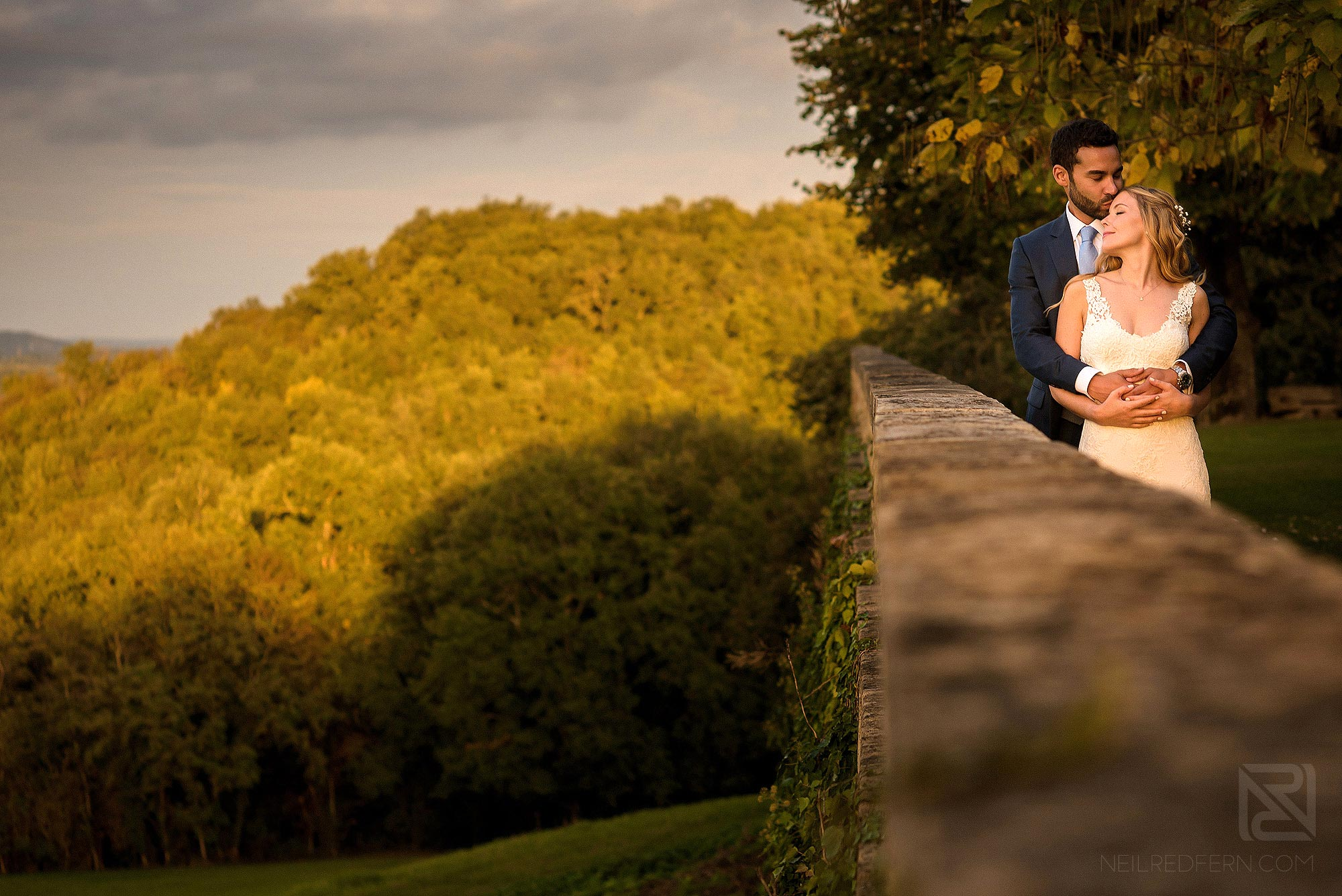 evening portrait of bride and groom at Chateau Soulac