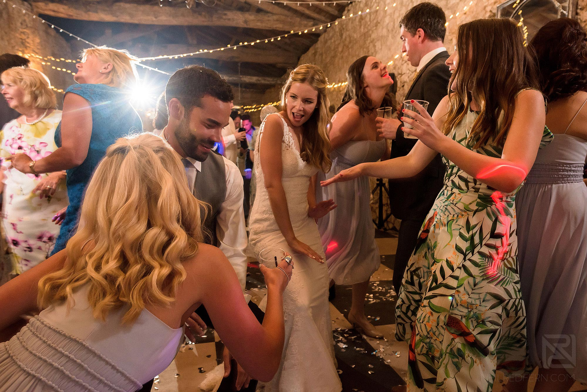 wedding guests dancing at Chateau Soulac in France