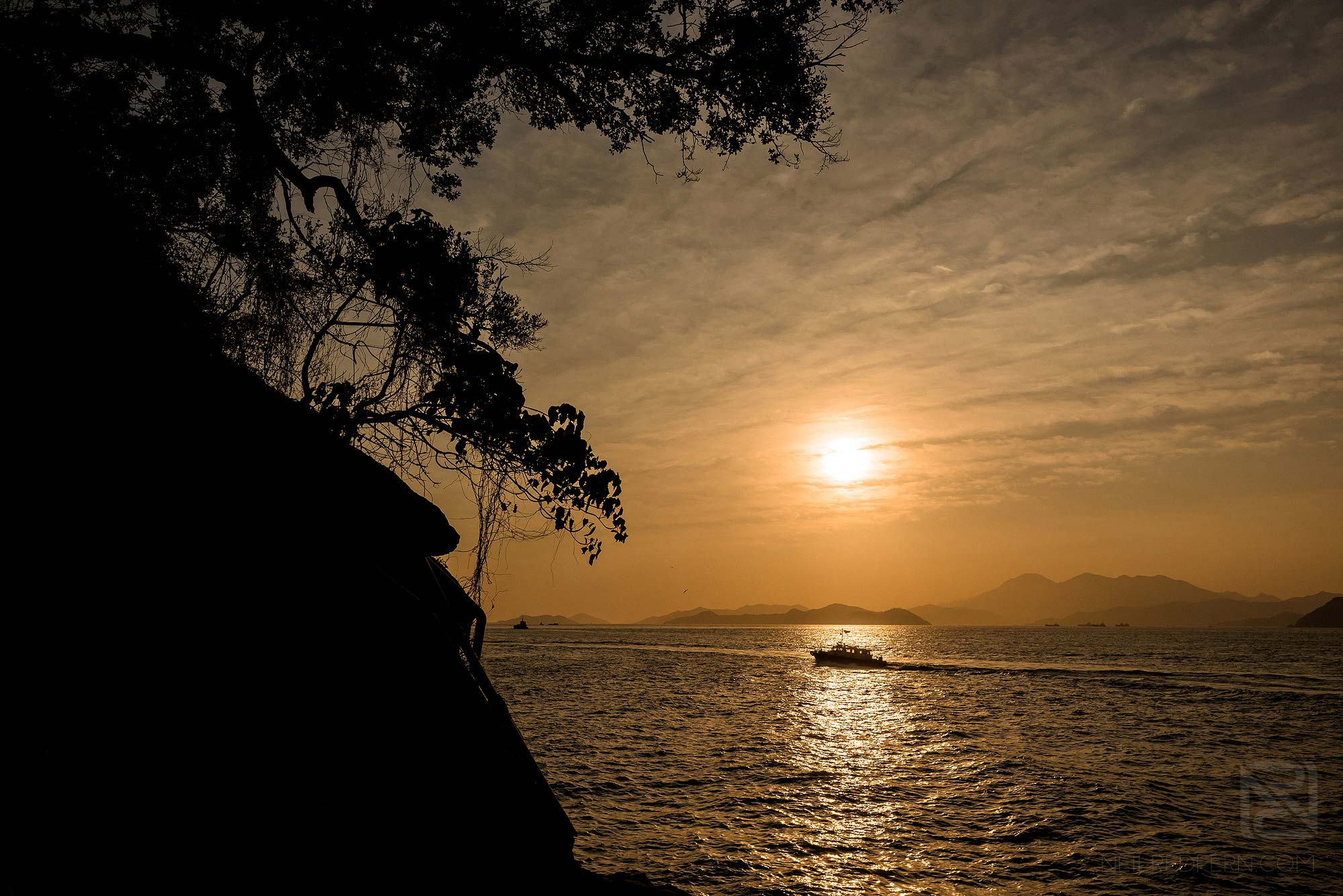 sunset at the Swimming Shed in Hong Kong