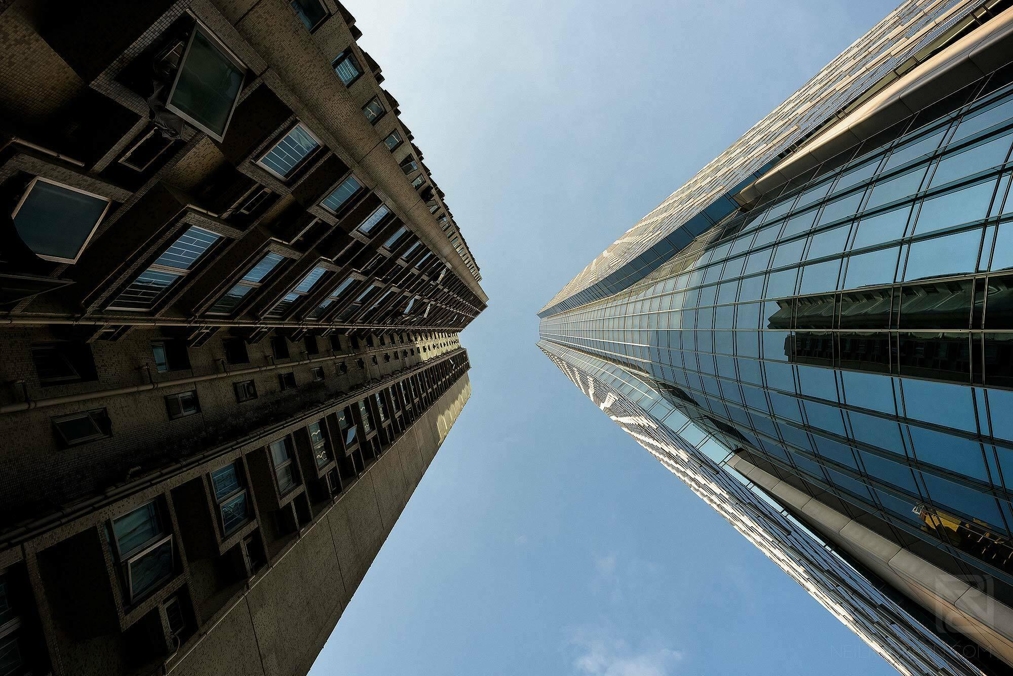 Looking up at Hong Kong tall buildings