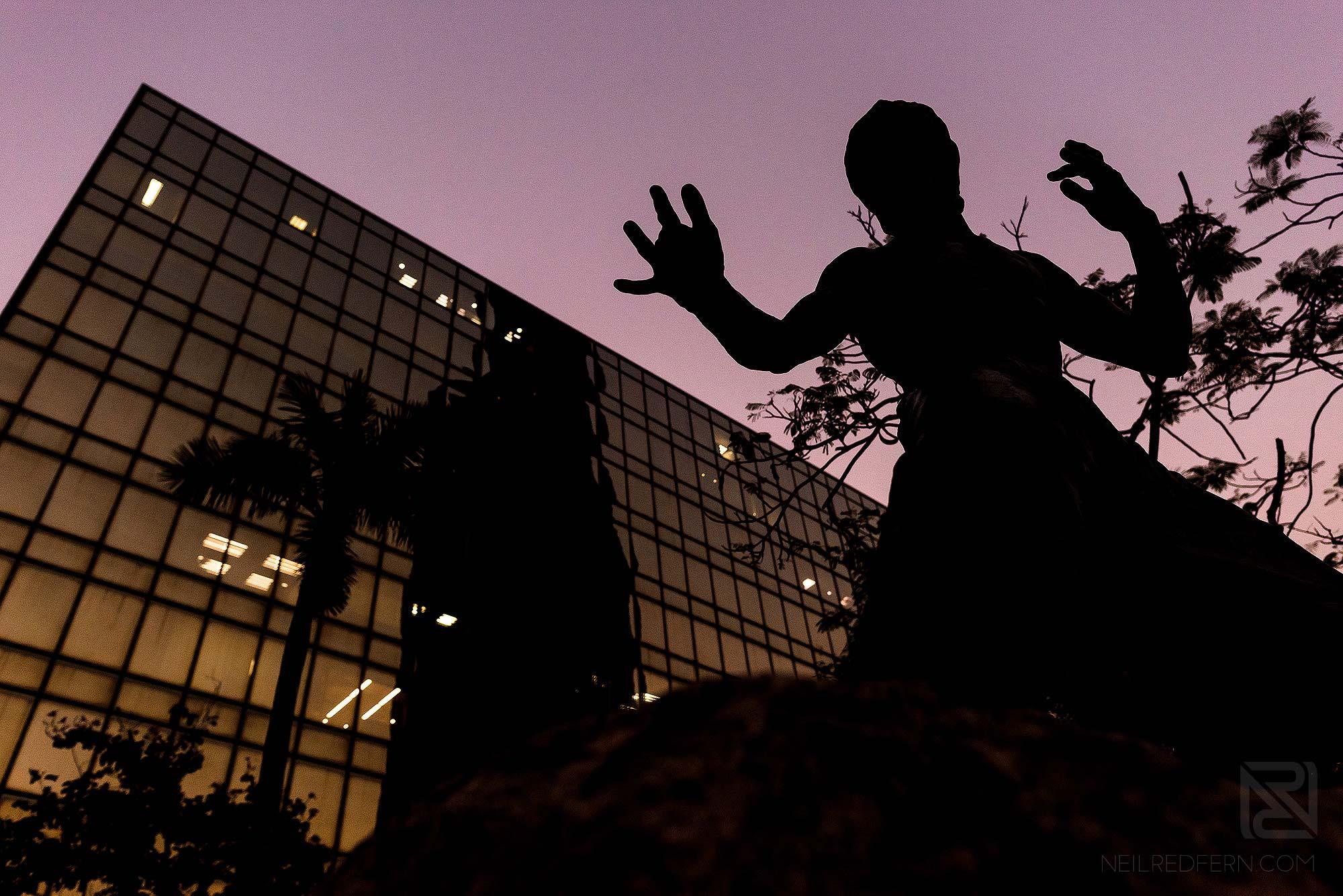 silhouette of Bruce Lee in Garden of Stars