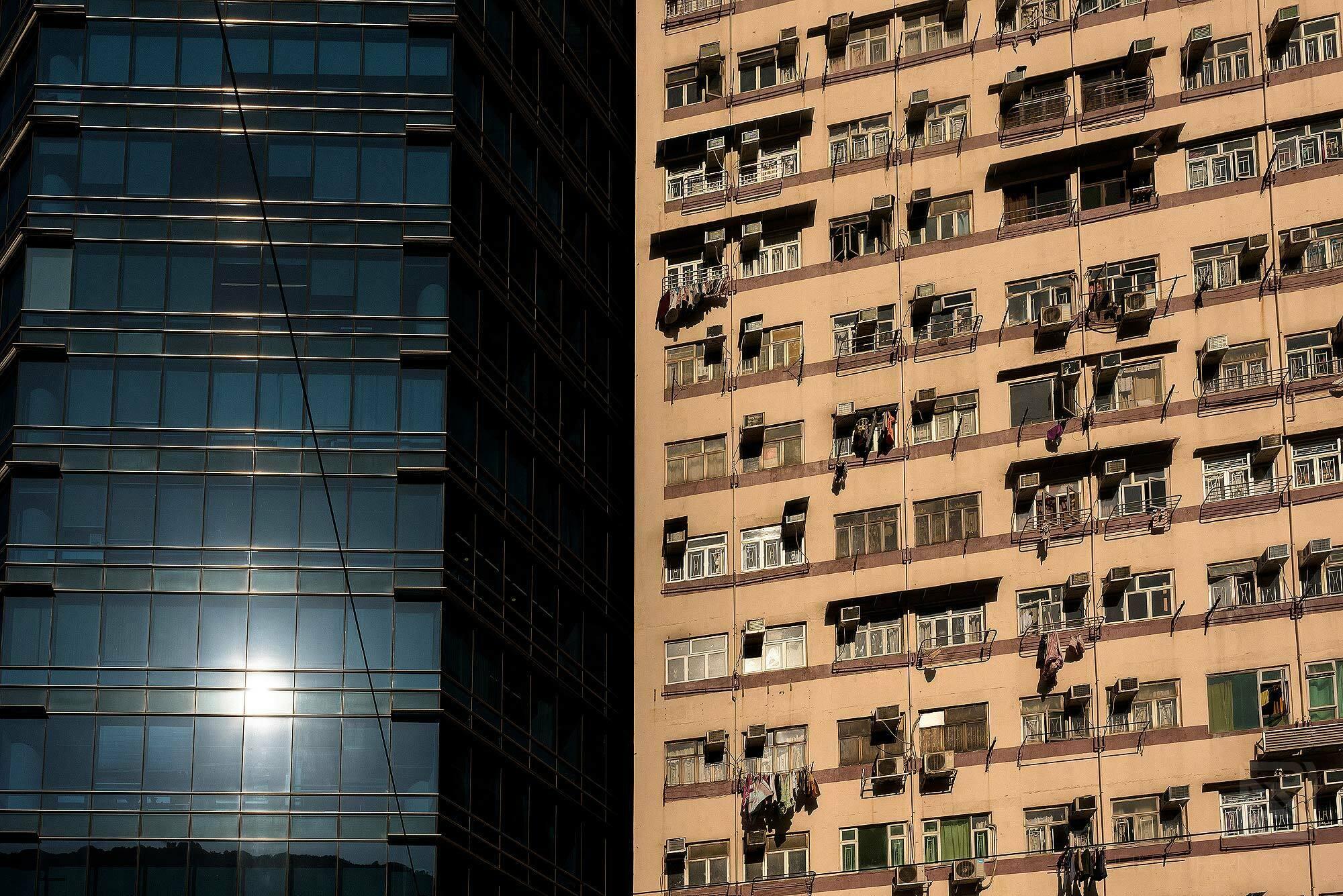 contrast of buildings in Hong Kong
