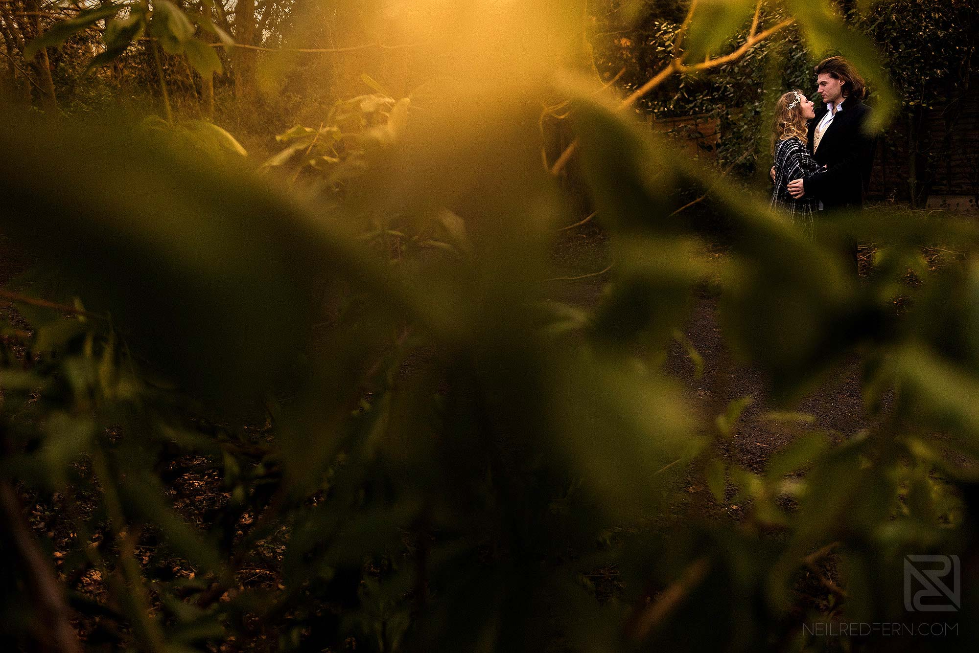 photograph of bride and groom in woodland