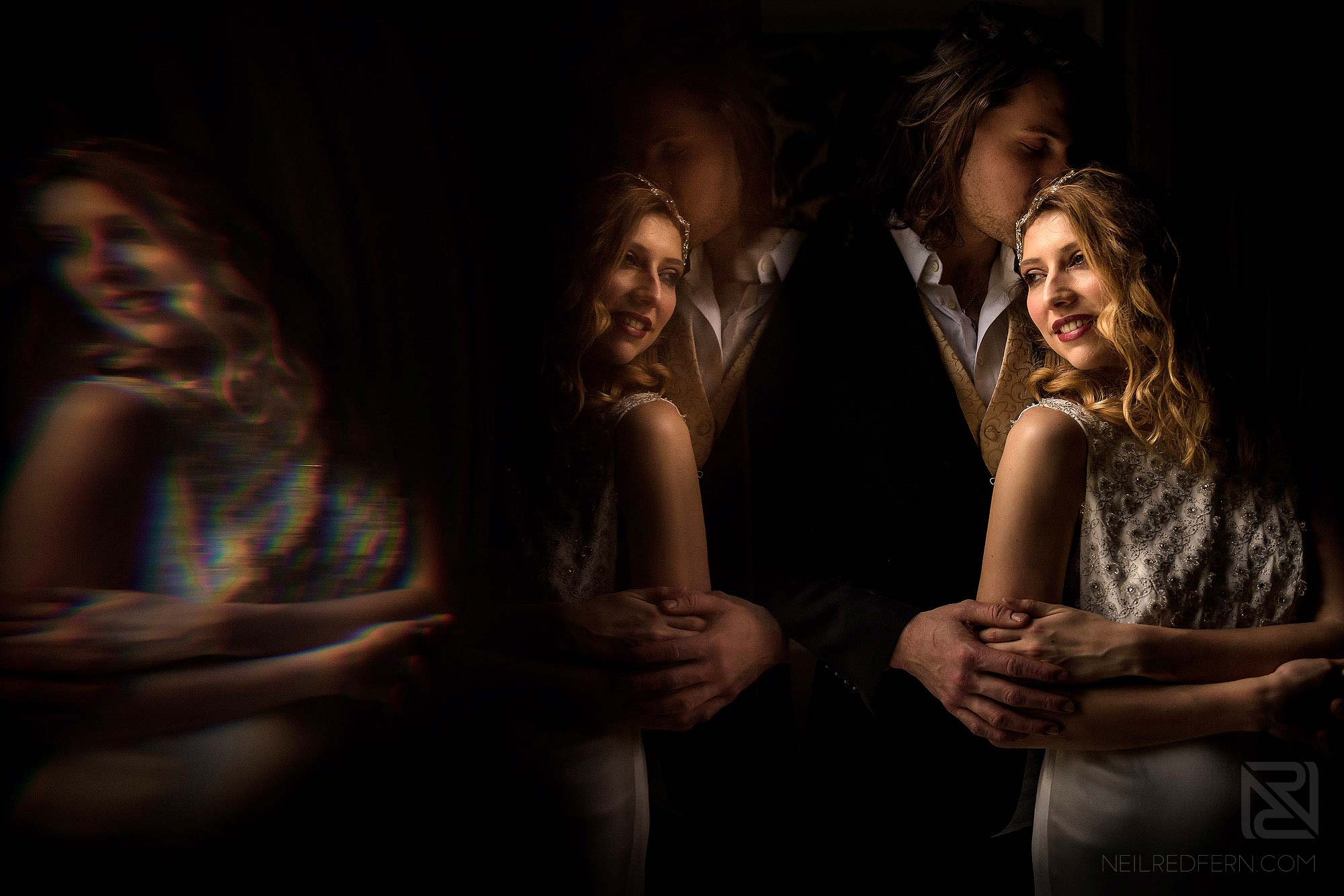 creative photograph of bride and groom taken in natural window light