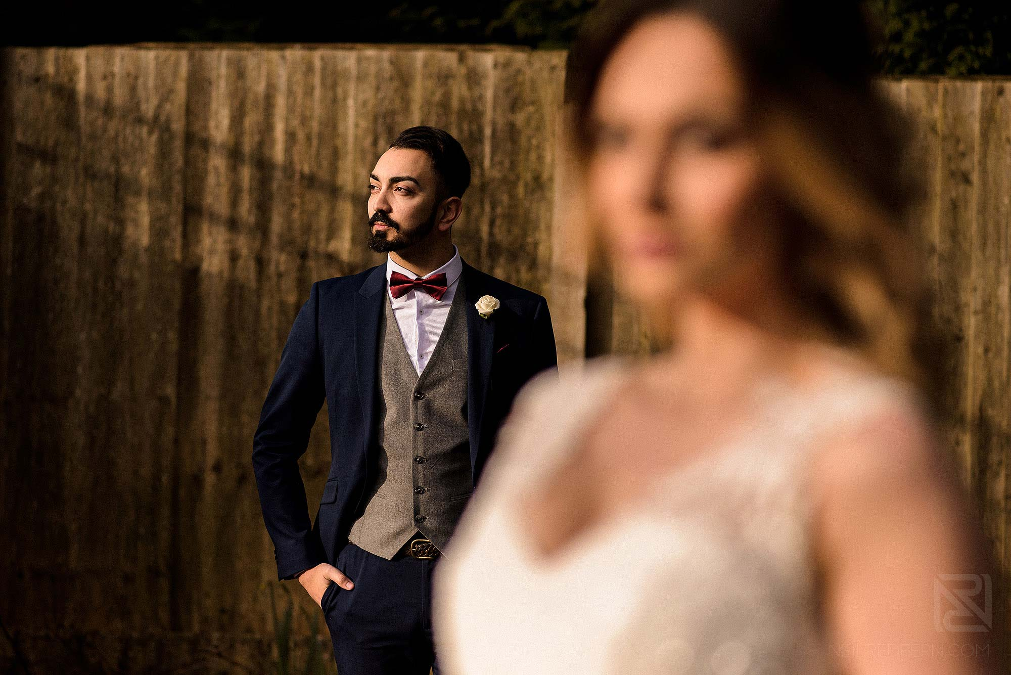 portrait of bride and groom taken on a wedding photography workshop in the North West