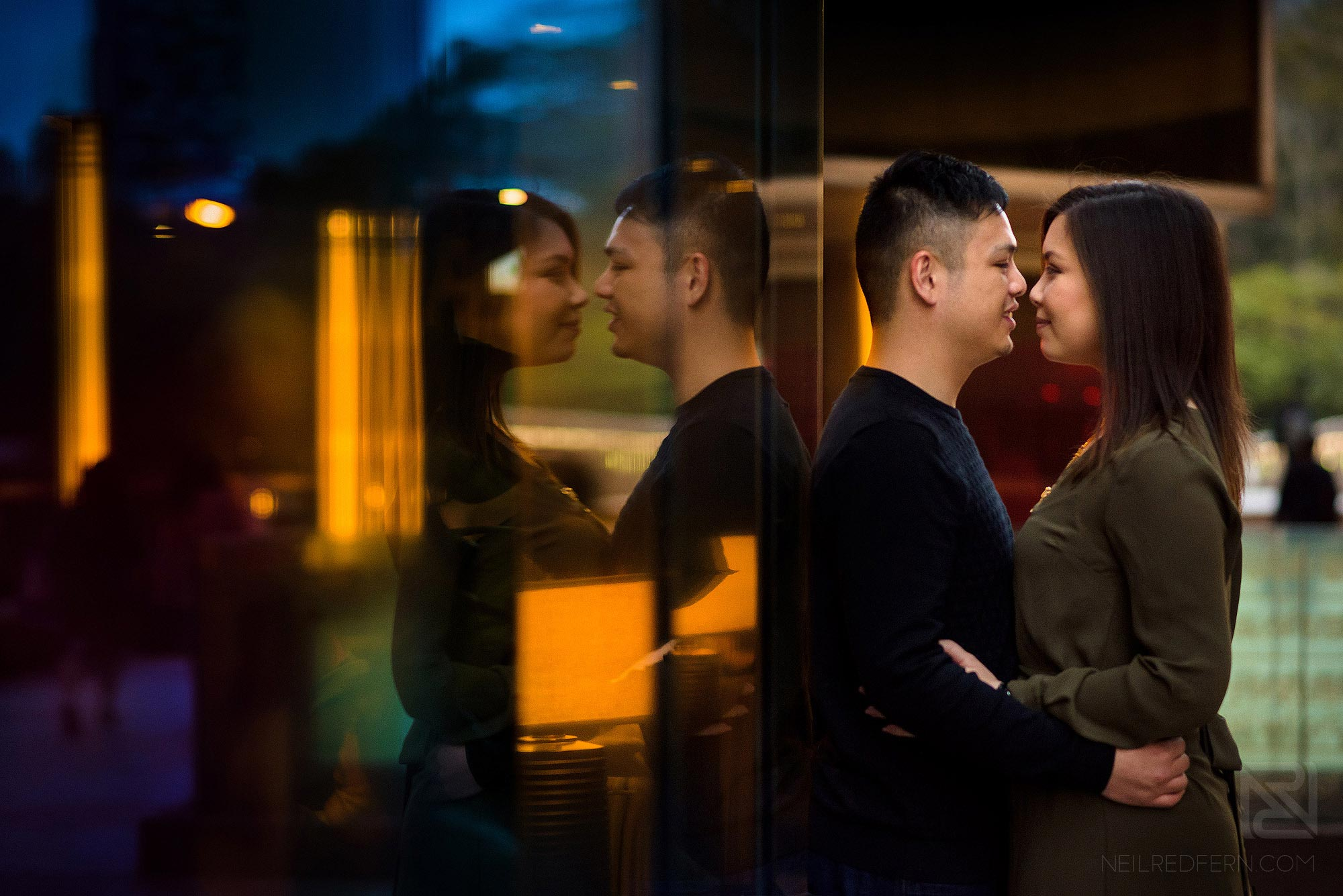 engagement portrait photo of couple at china hong kong city