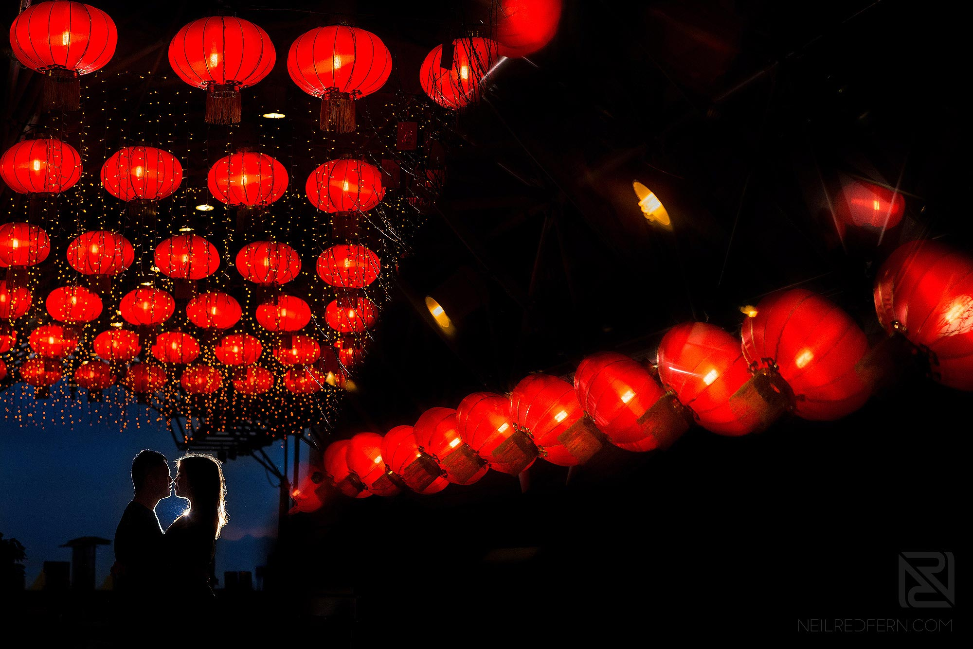 creative pre-wedding photograph of bride and groom in Hong Kong