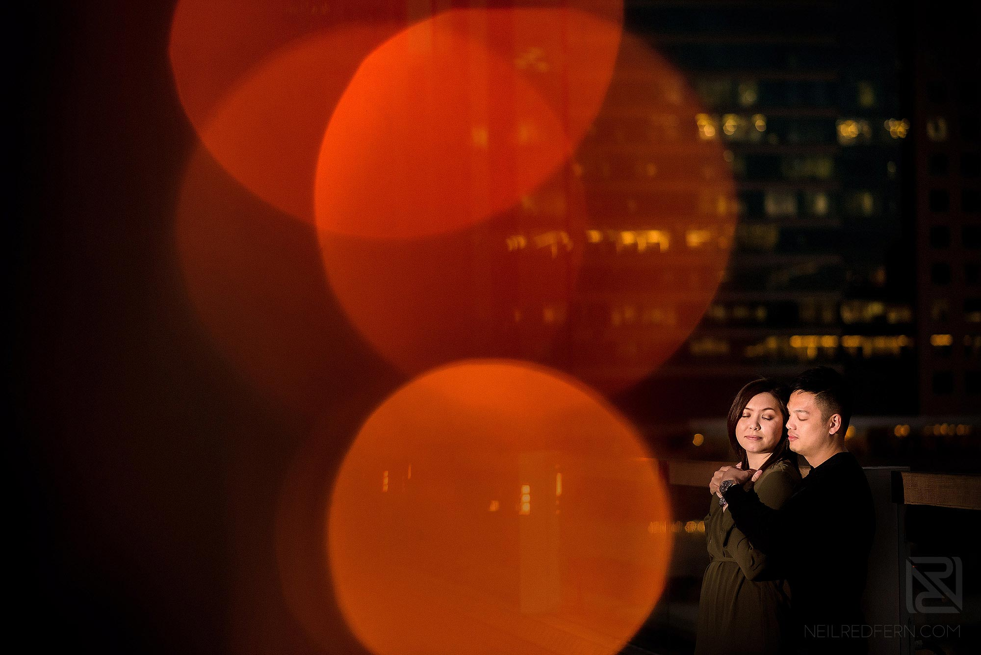creative portrait of couple at Victoria Harbour in HK