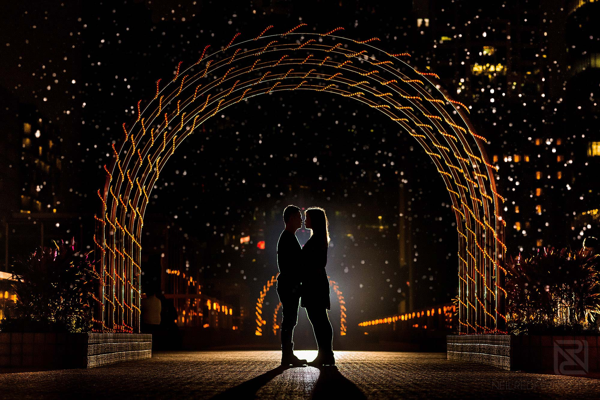 creative flash portrait of couple in Hong Kong