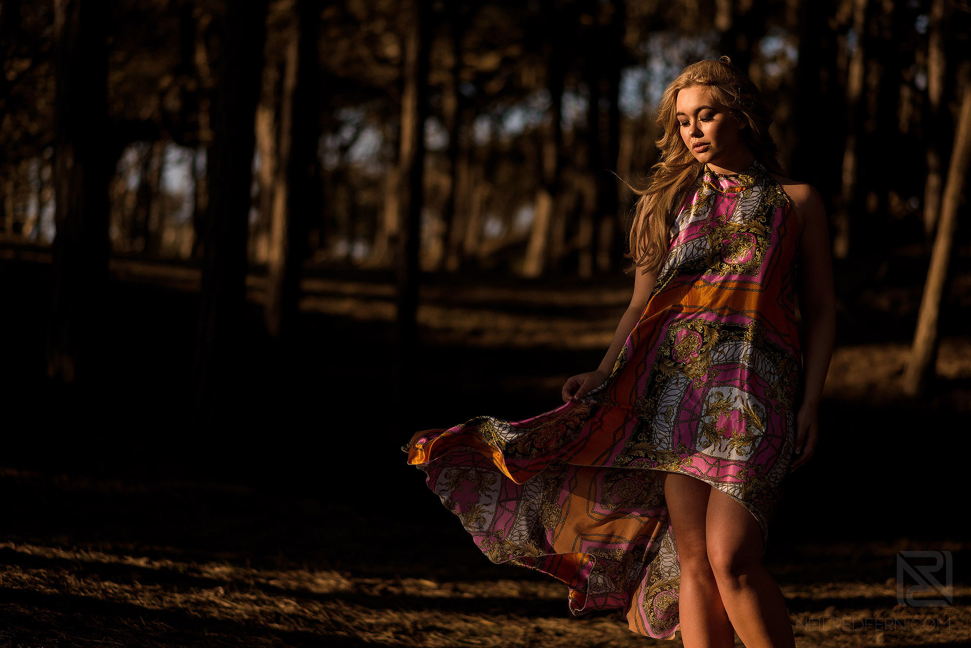 creative photograph of model in the forest at Formby