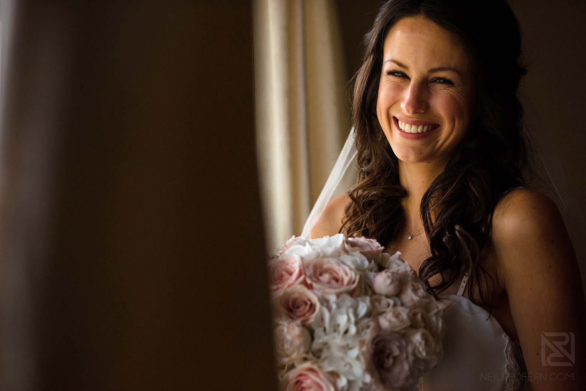 beautiful portrait of happy bride