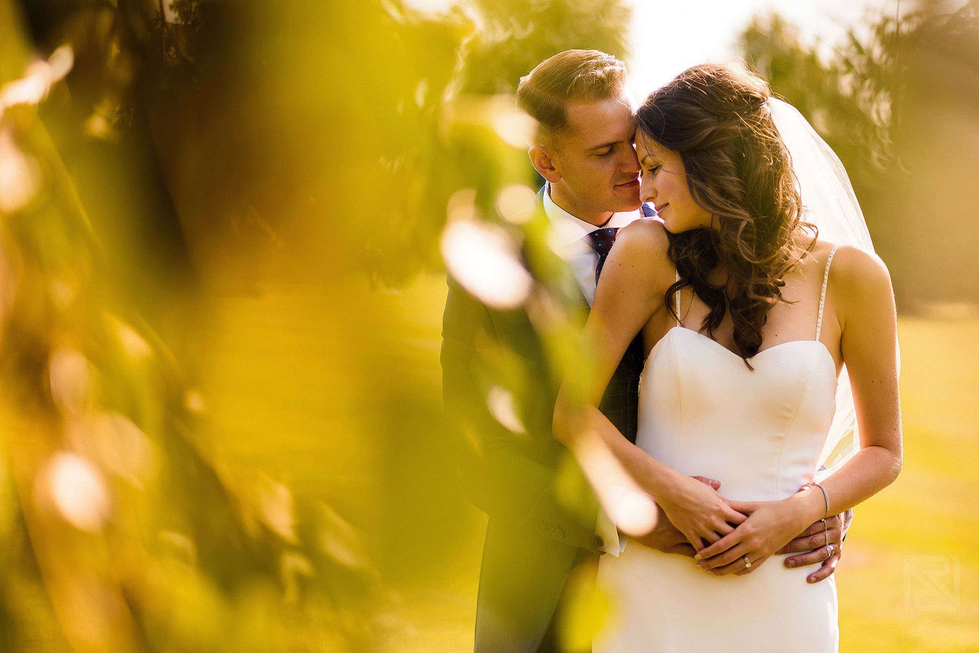natural light portrait of bride and groom at Merrydale Manor wedding