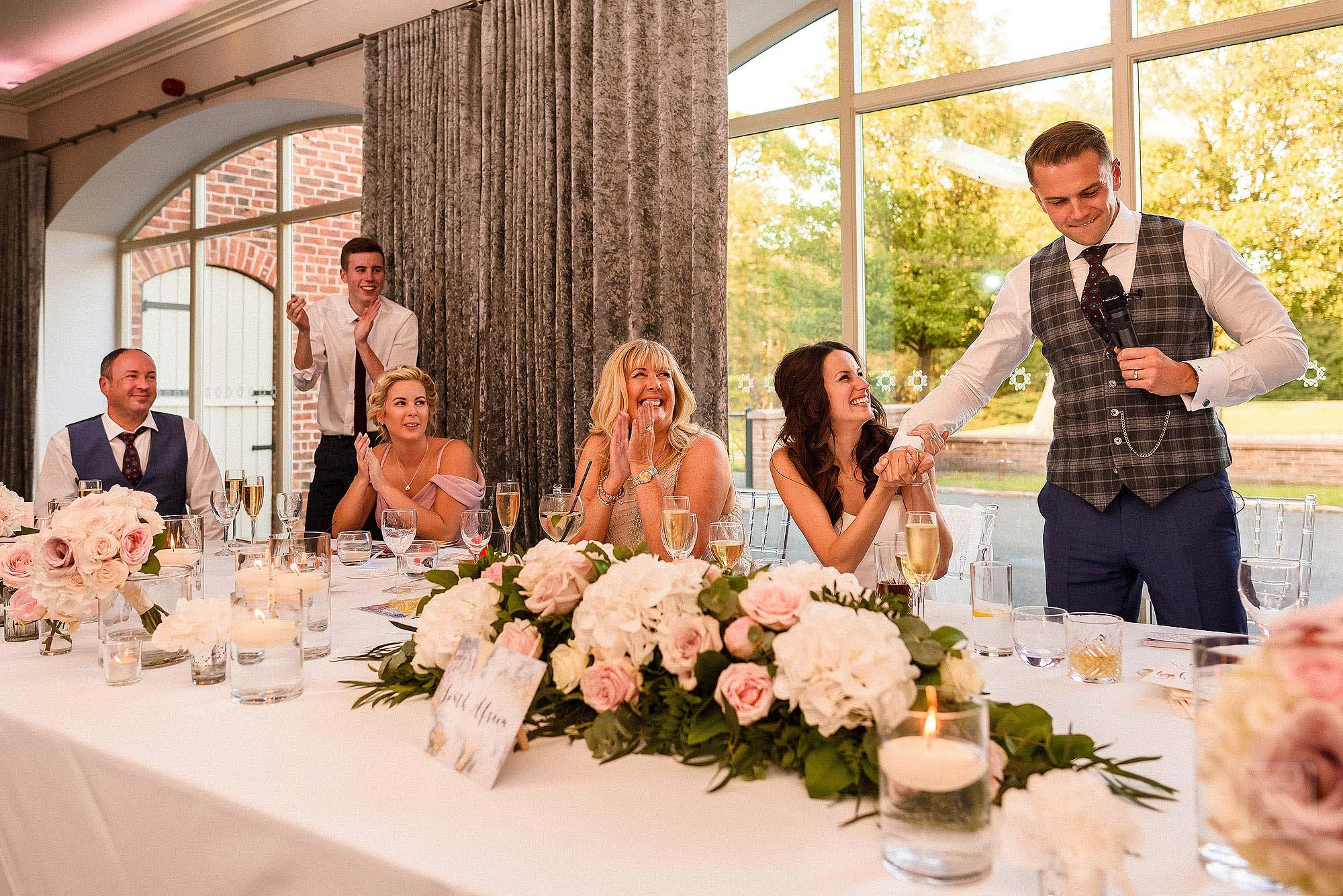 groom giving speech at Merrydale Manor wedding