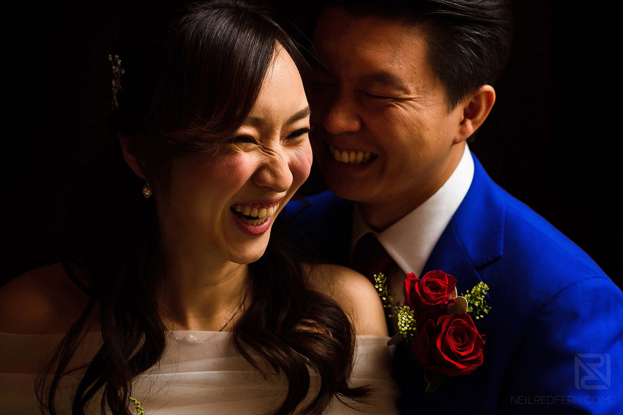close up portrait of happy bride and groom