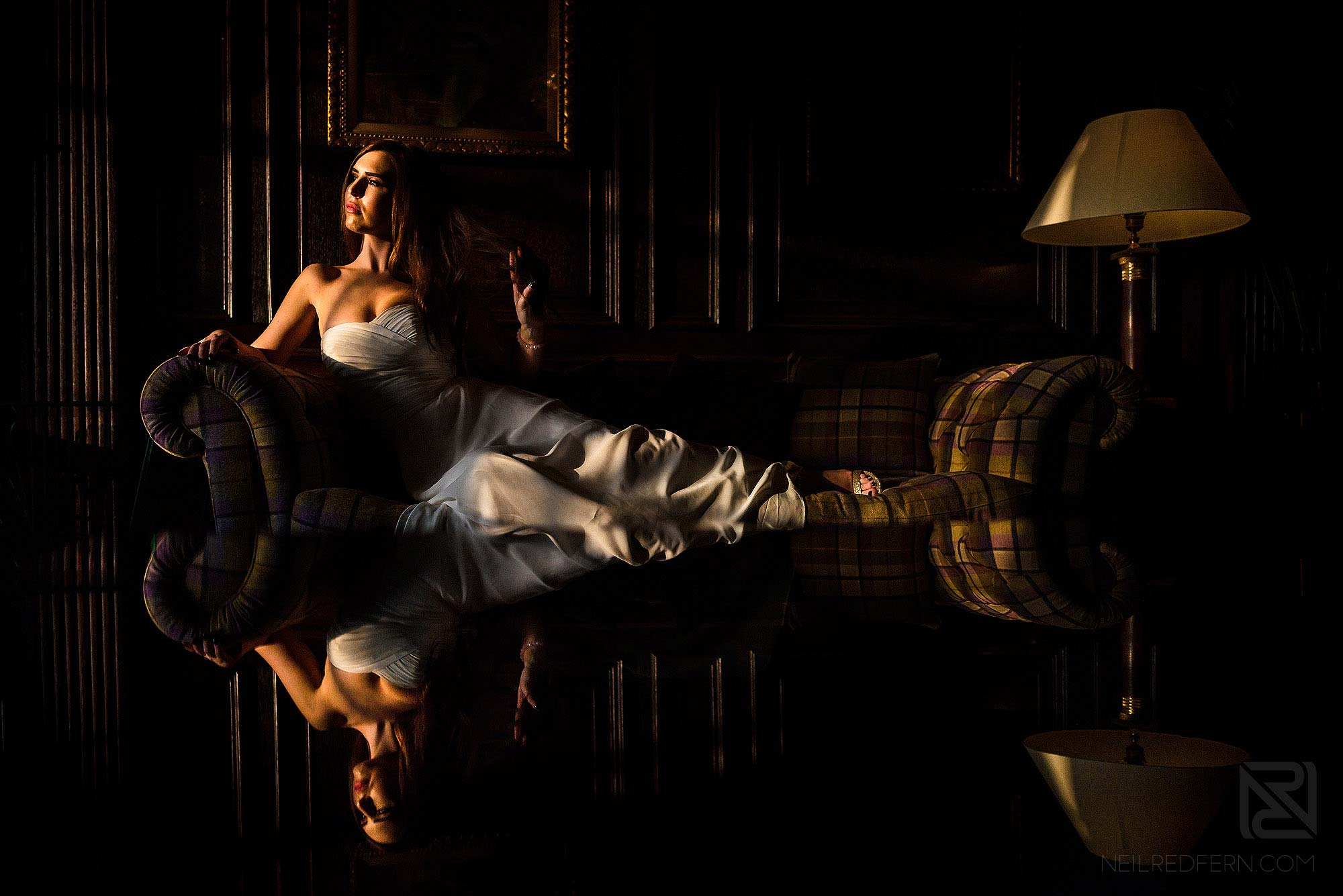 beautiful natural light portrait of bride at Eaves Hall