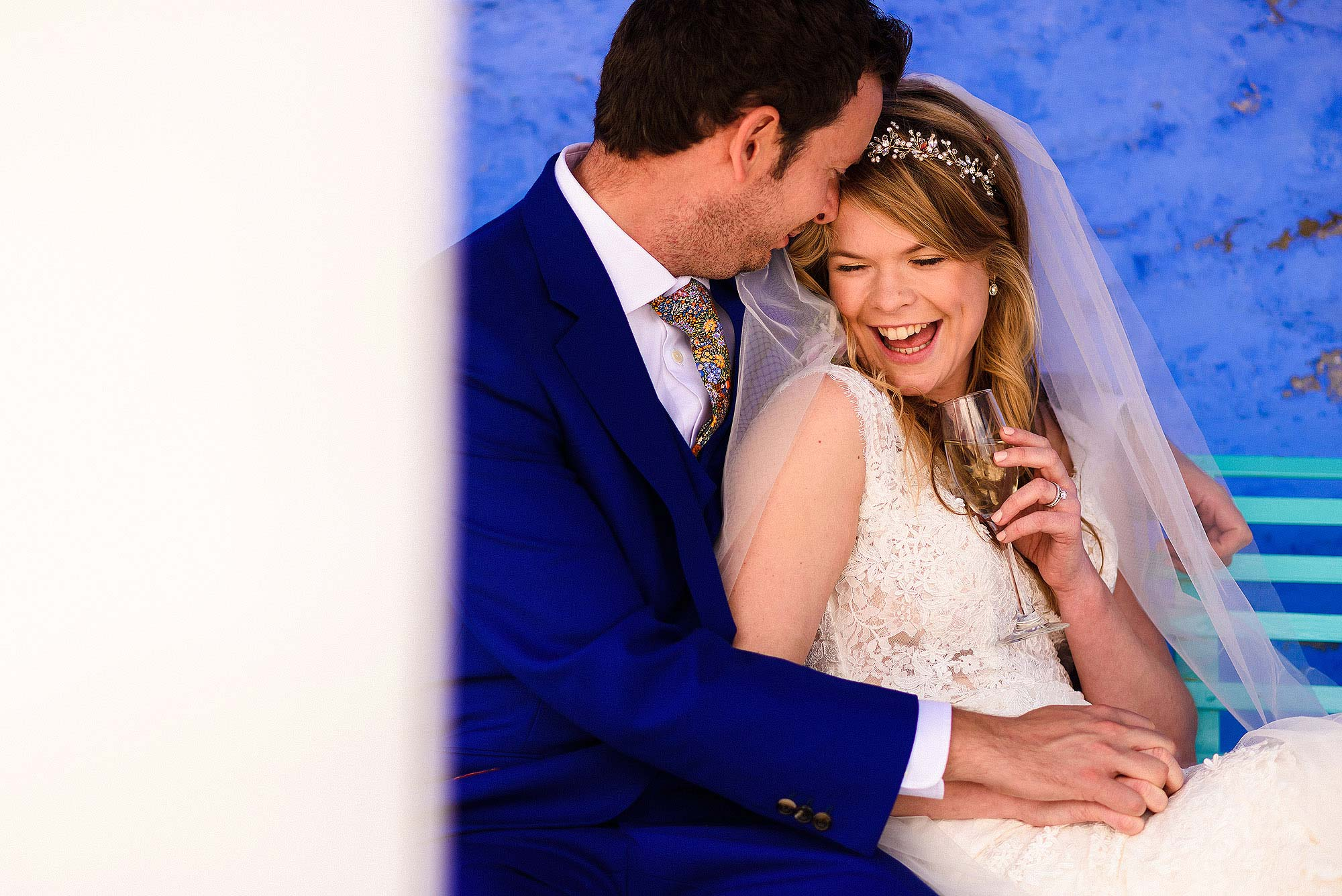 intimate moment between newlyweds at Portmeirion