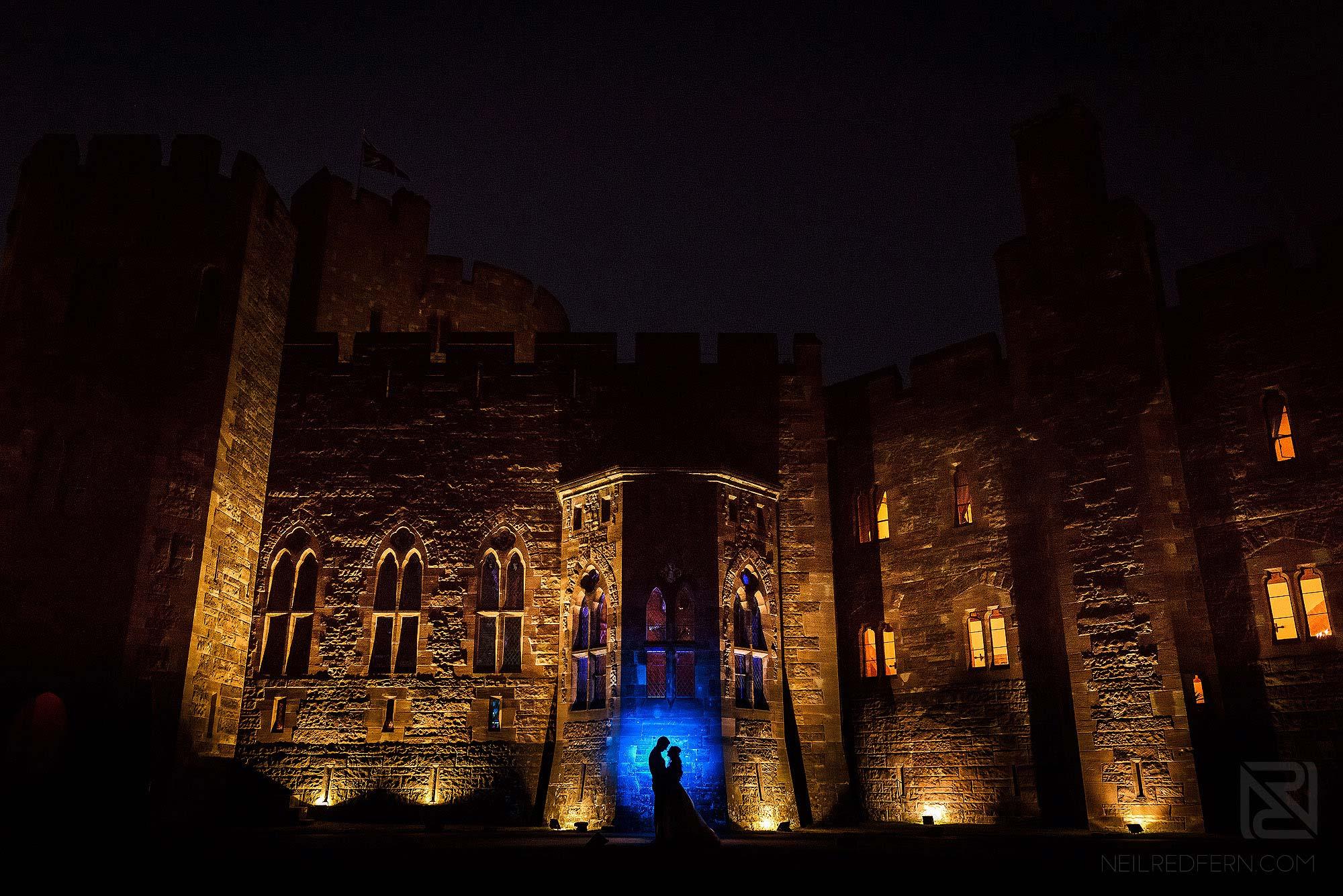 OCF wedding portrait at night at Peckforton Castle