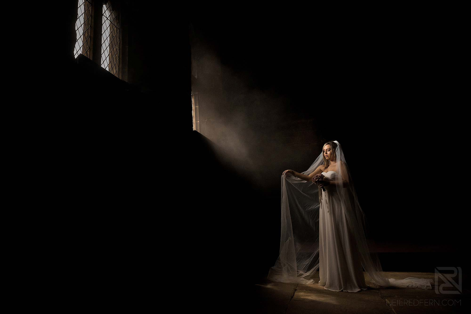 classical portrait of bride at Chetham's in Manchester