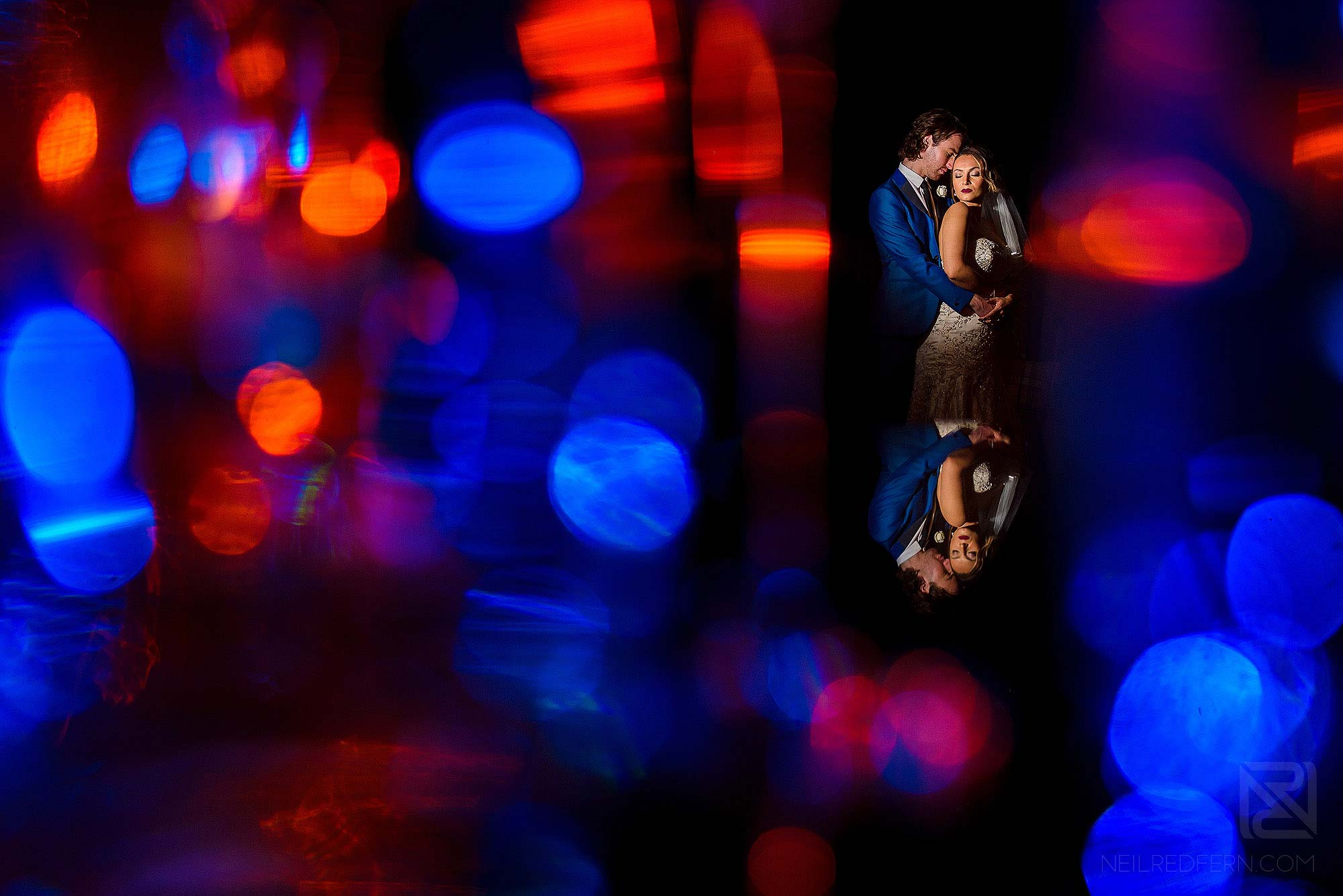 creative portrait of bride and groom during wedding photography workshop