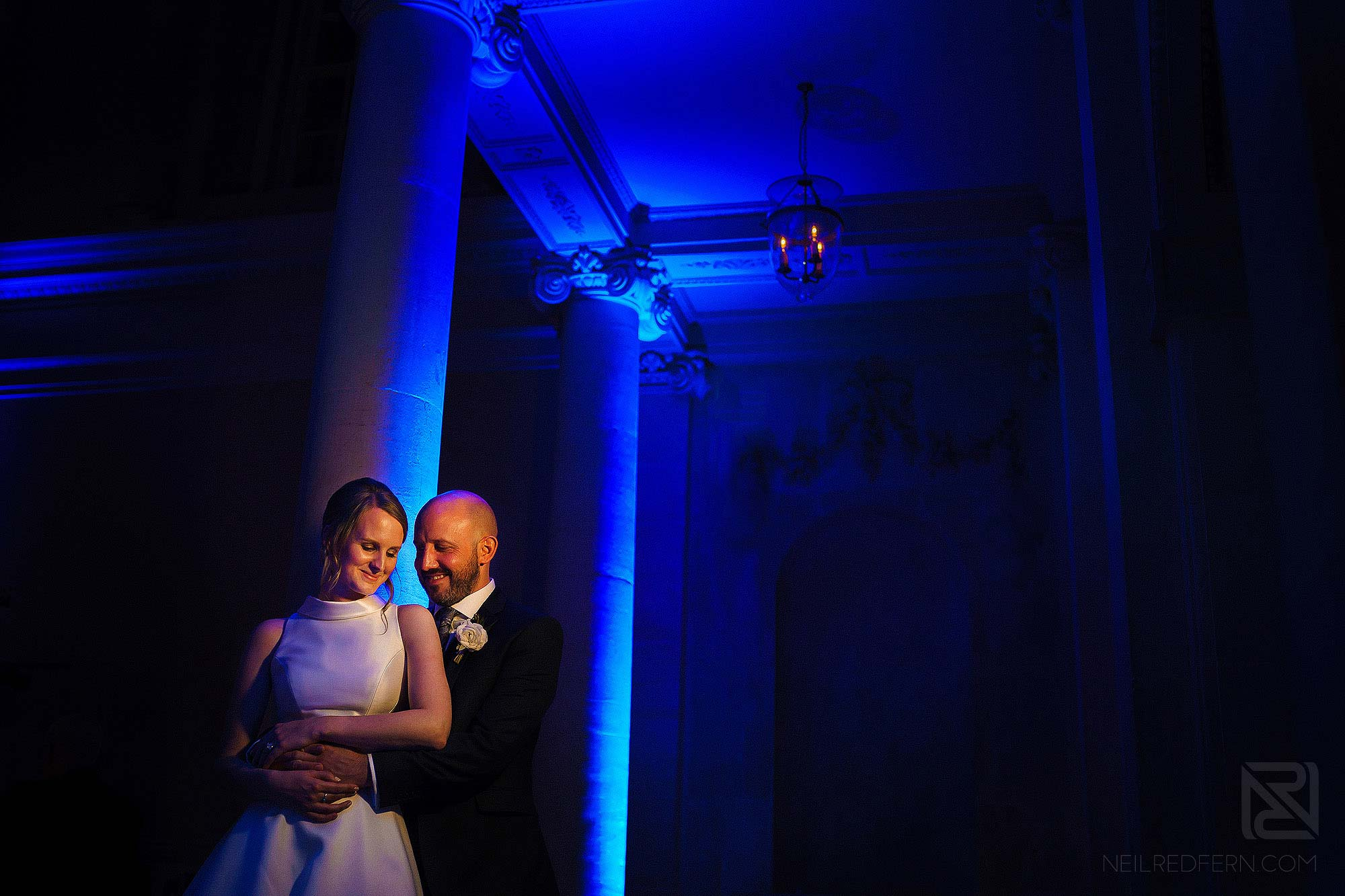 portrait of bride and groom in Assembly Rooms in Bath