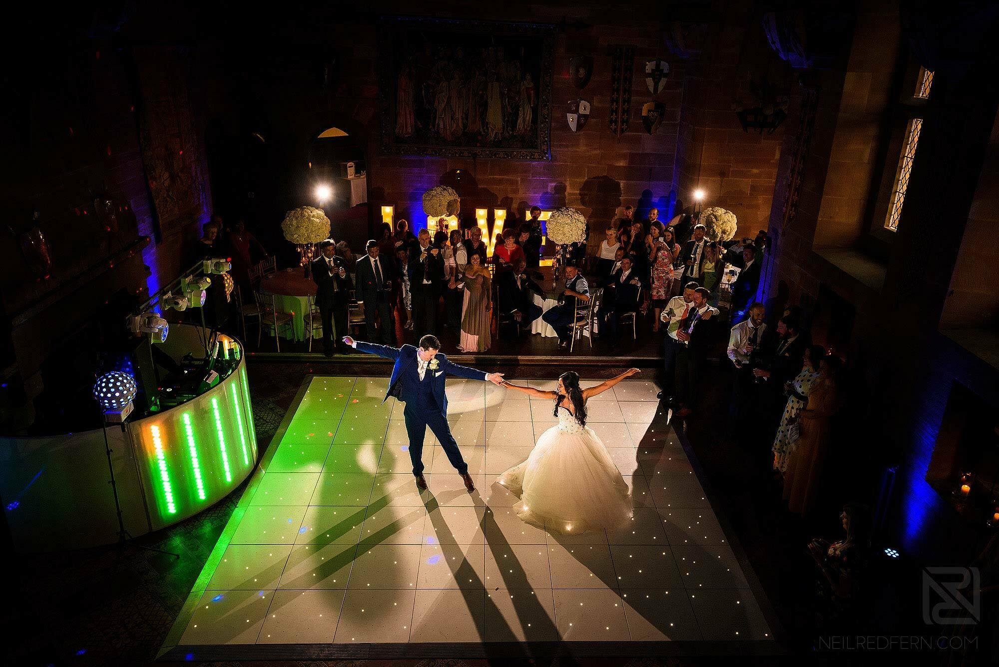 first dance at Peckforton Castle wedding