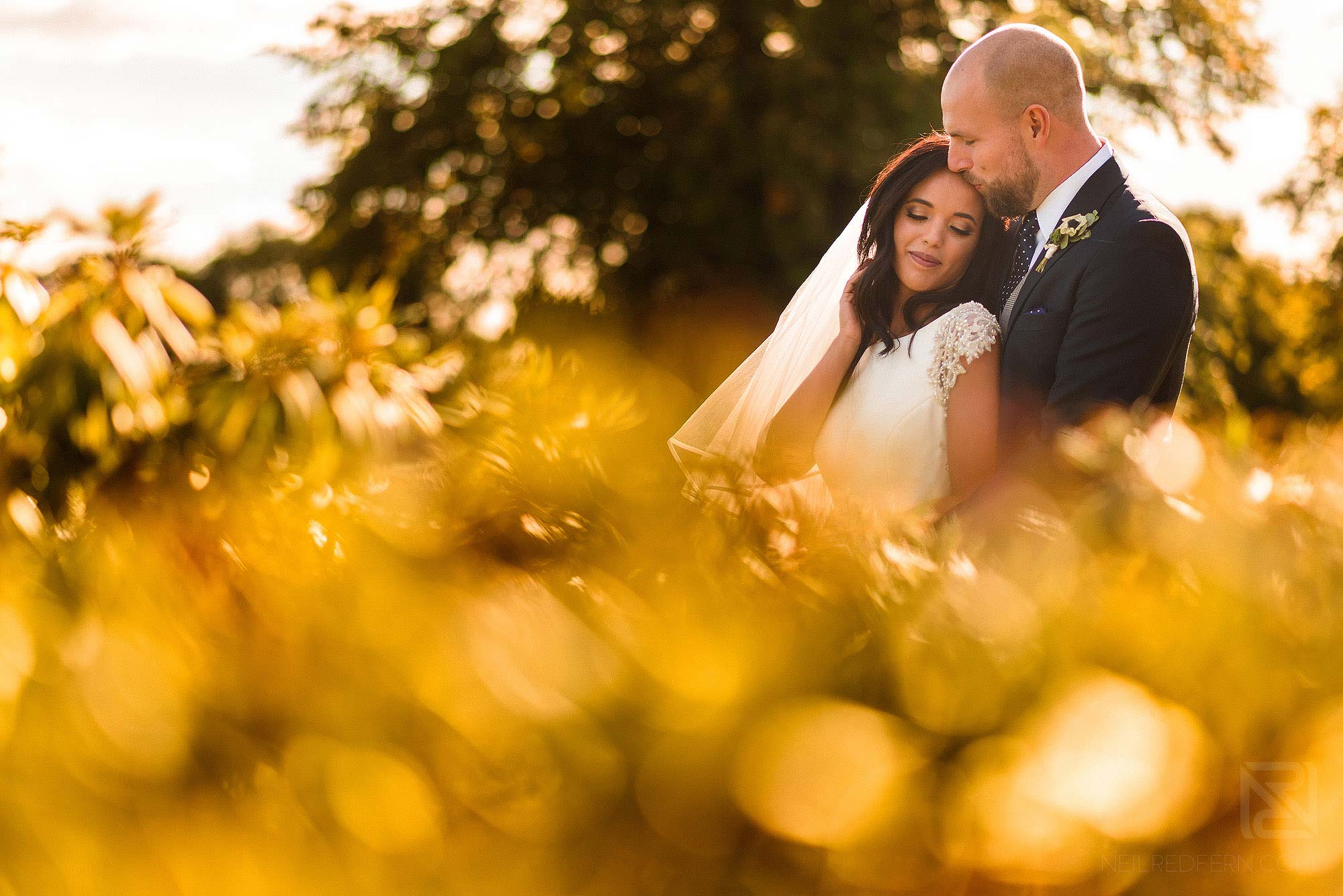 beautiful moment between bride and groom at Merrydale Manor in Cheshire
