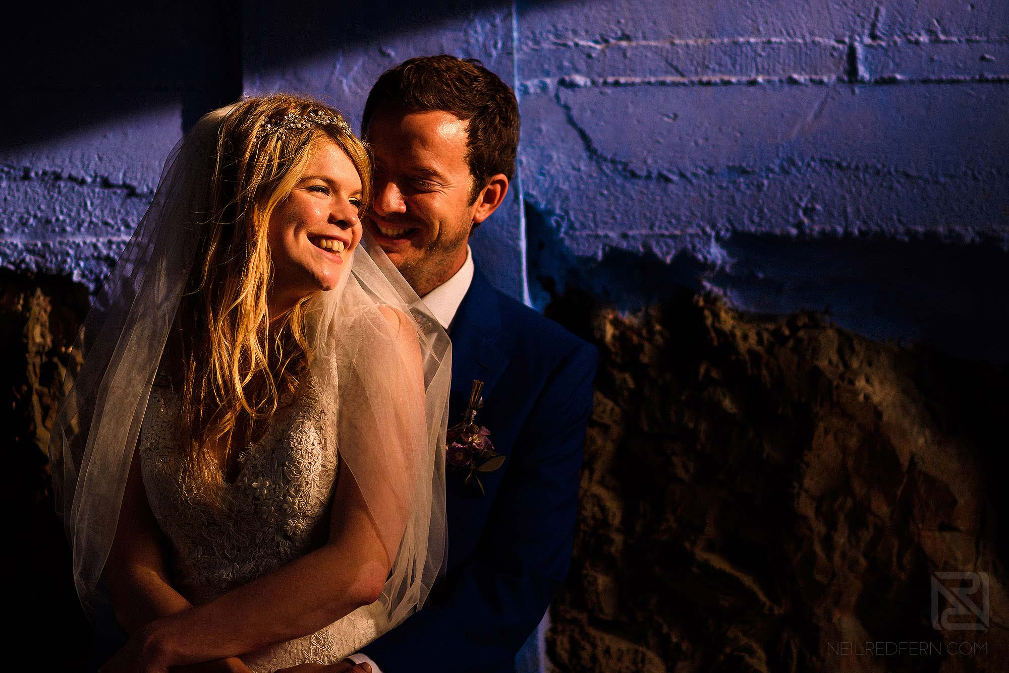 bride and groom photograph at Portmeirion in Wales