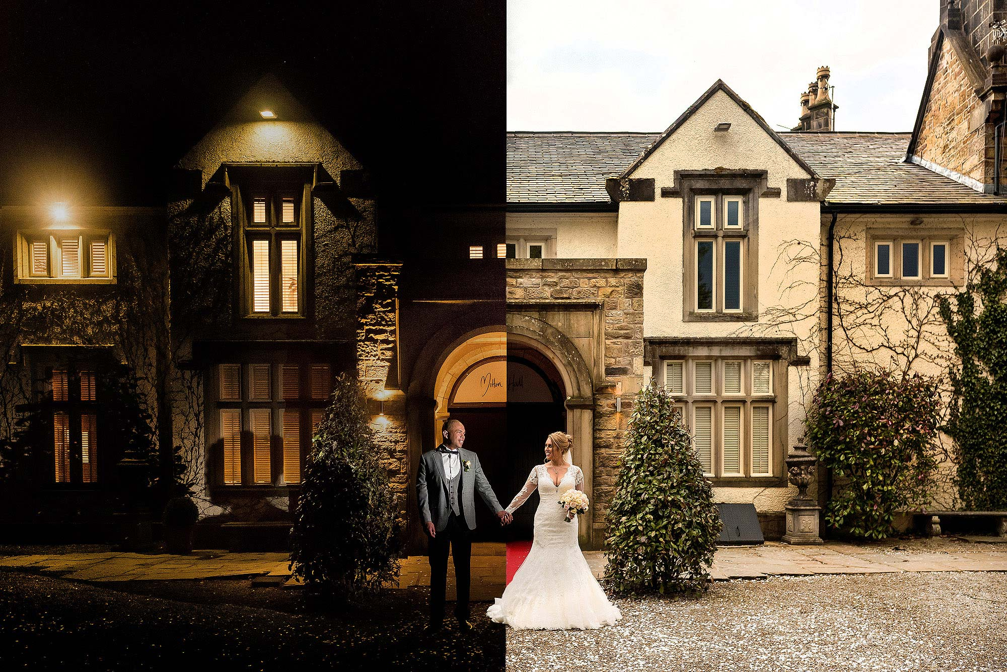creative day night composite photograph of bride and groom at Mitton Hall