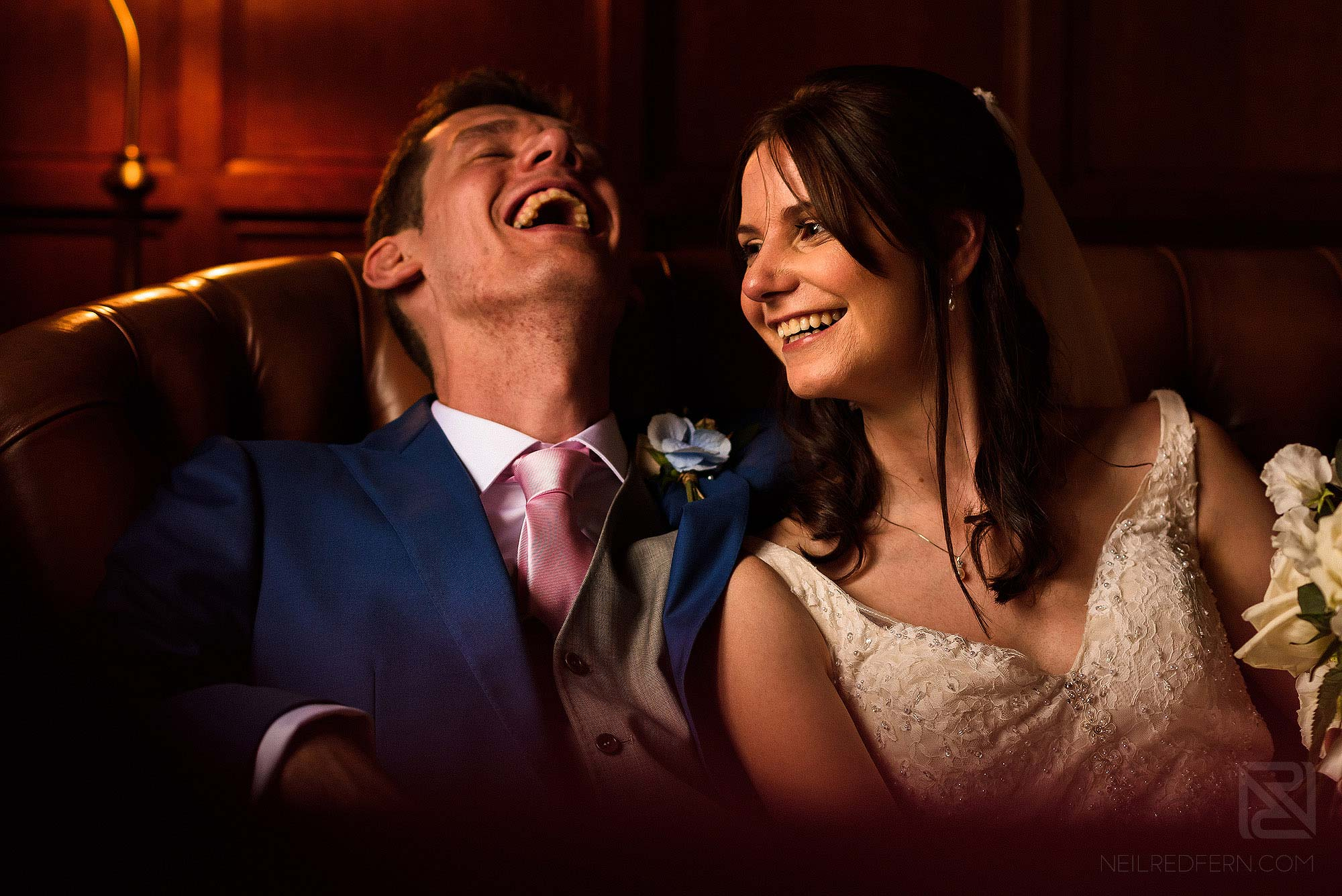 smiling bride and groom at Broadoaks Country House in the Lake District