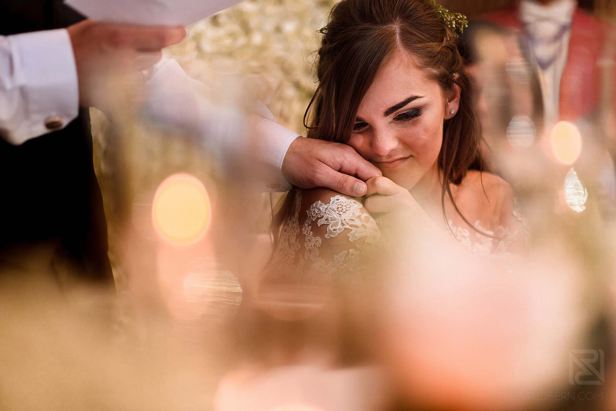 emotional moment during wedding speeches
