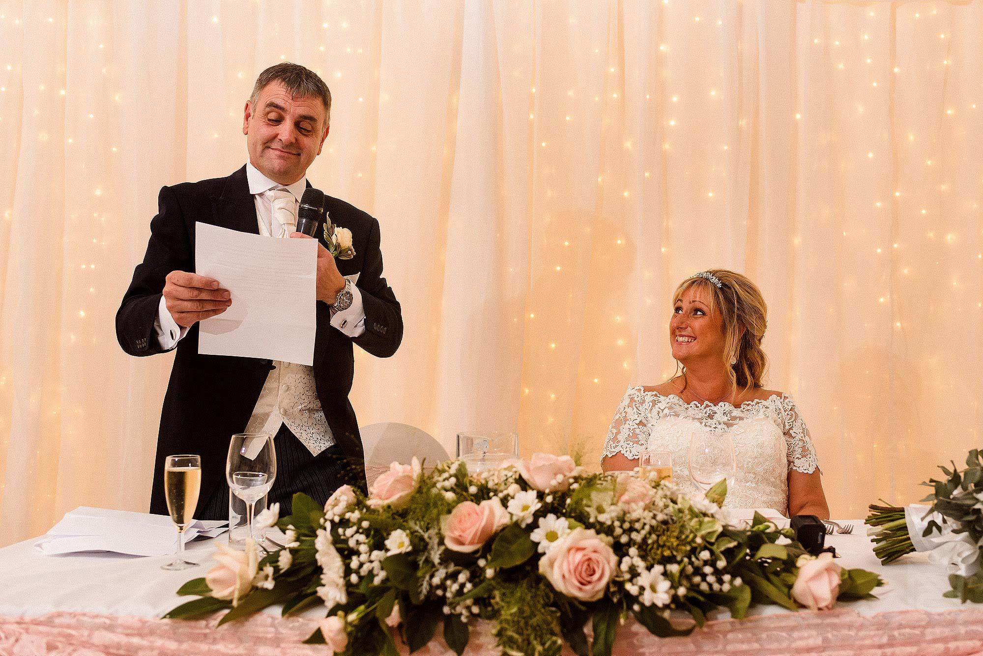 groom delivering wedding speech