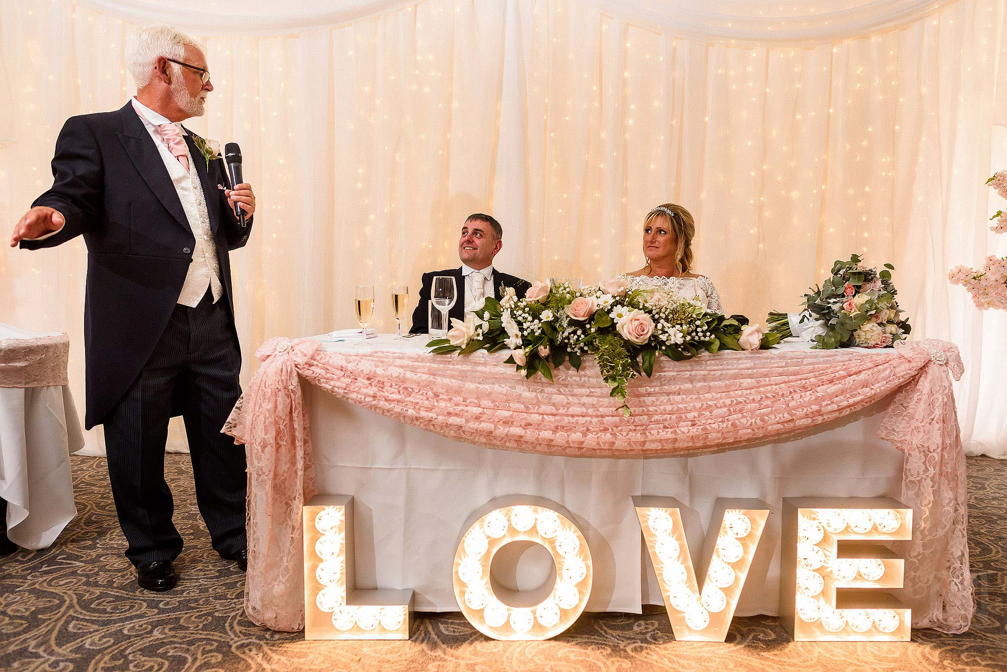 best man giving wedding speech at The Villa Wrea Green