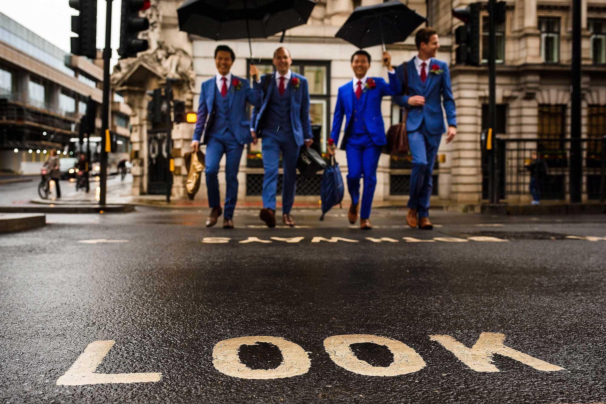 groom and best men crossing the road in London