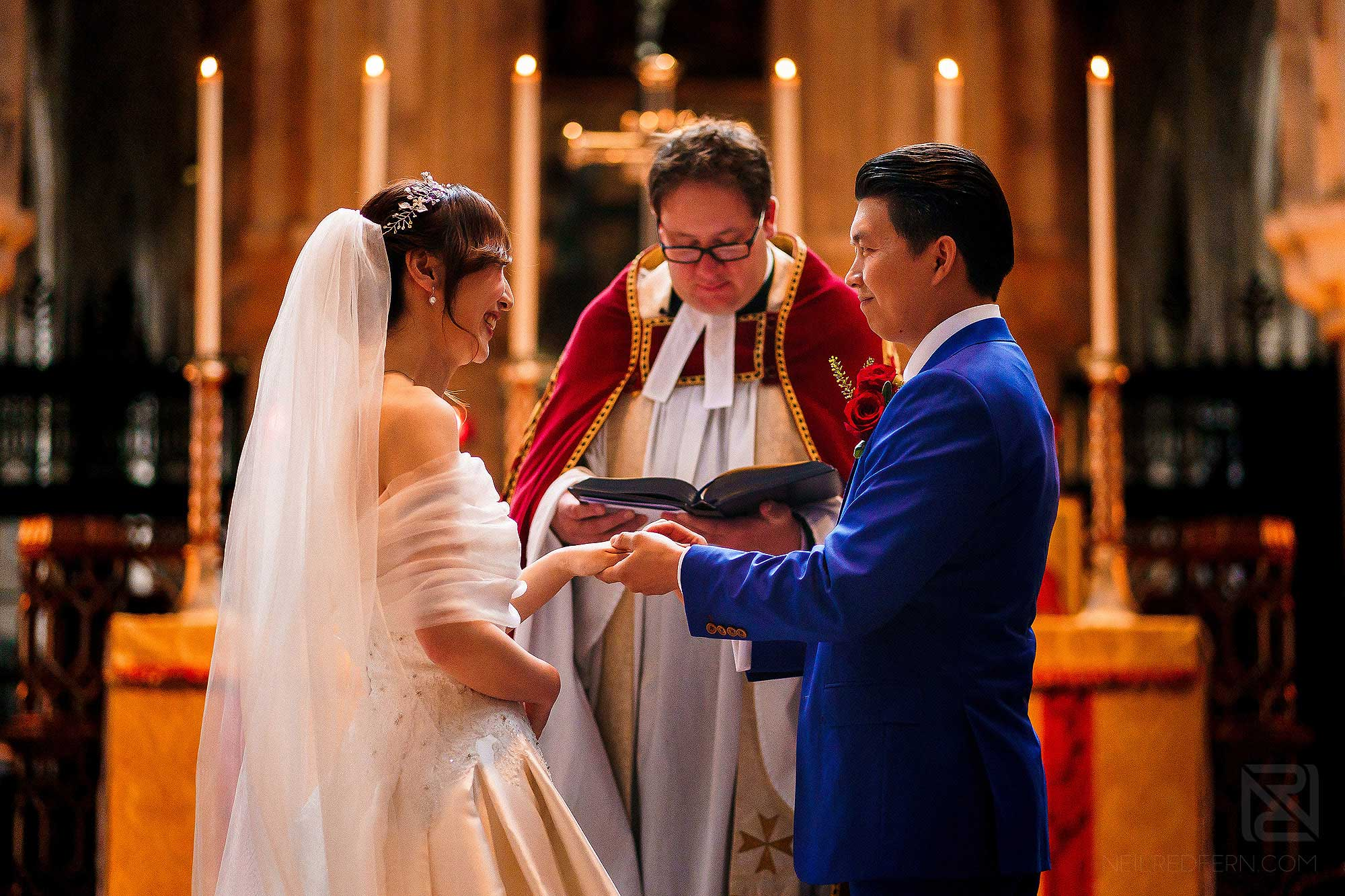 wedding vows at St Bartholomew the Great in London