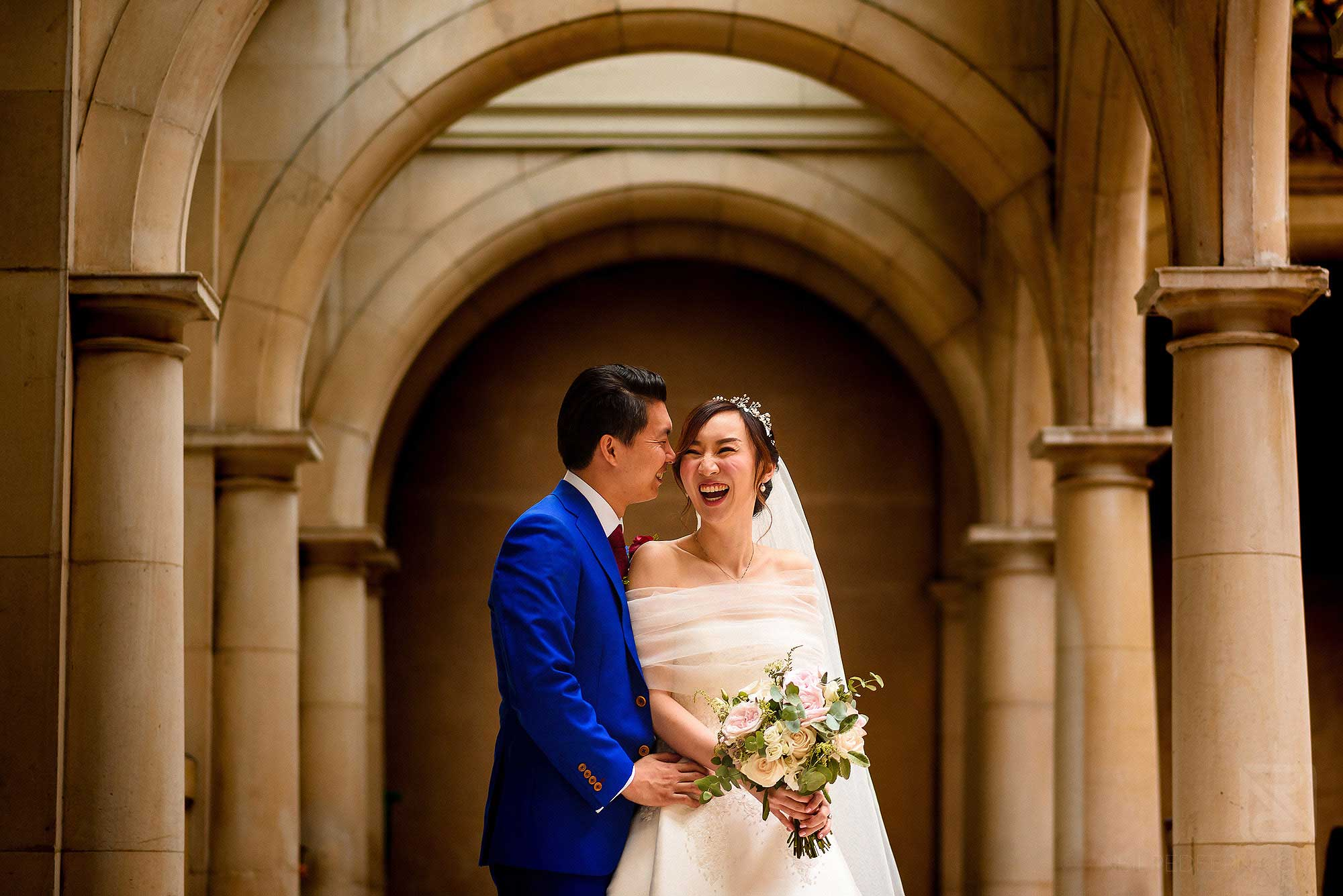 happy bride and groom portrait at Skinner's Hall in London