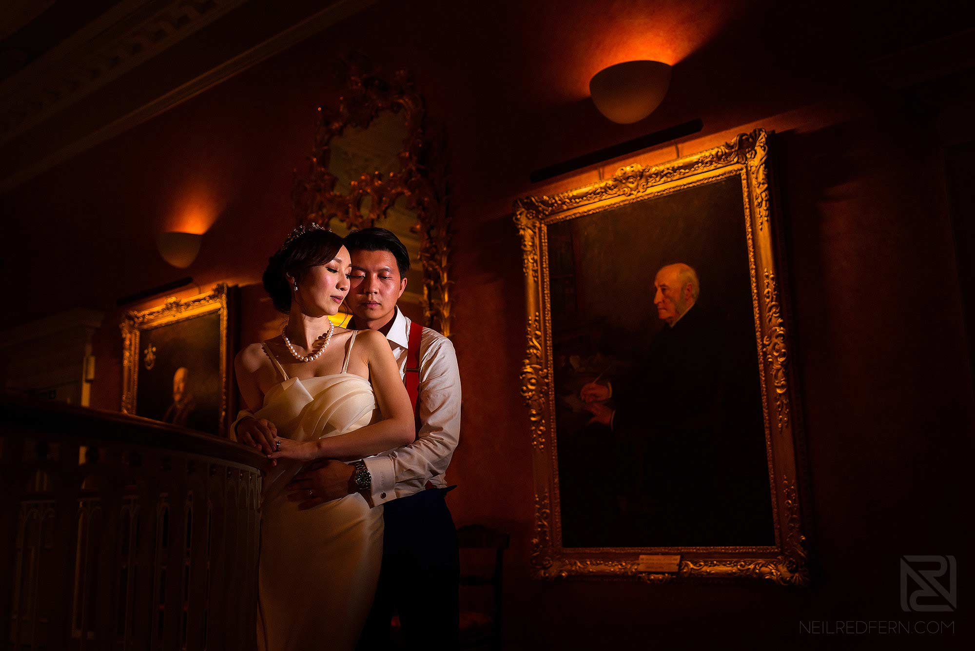 beautiful evening photograph of bride and groom inside Skinners Hall