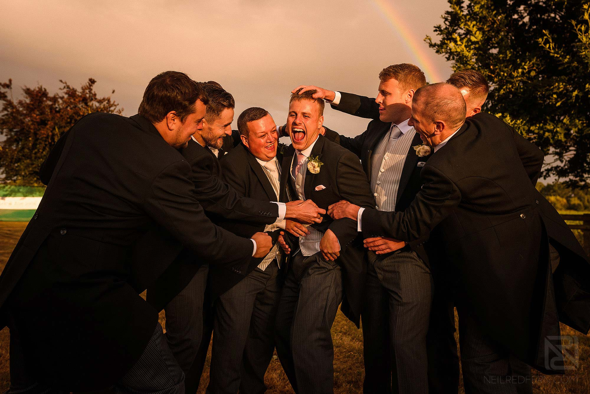 fun groomsmen group photograph