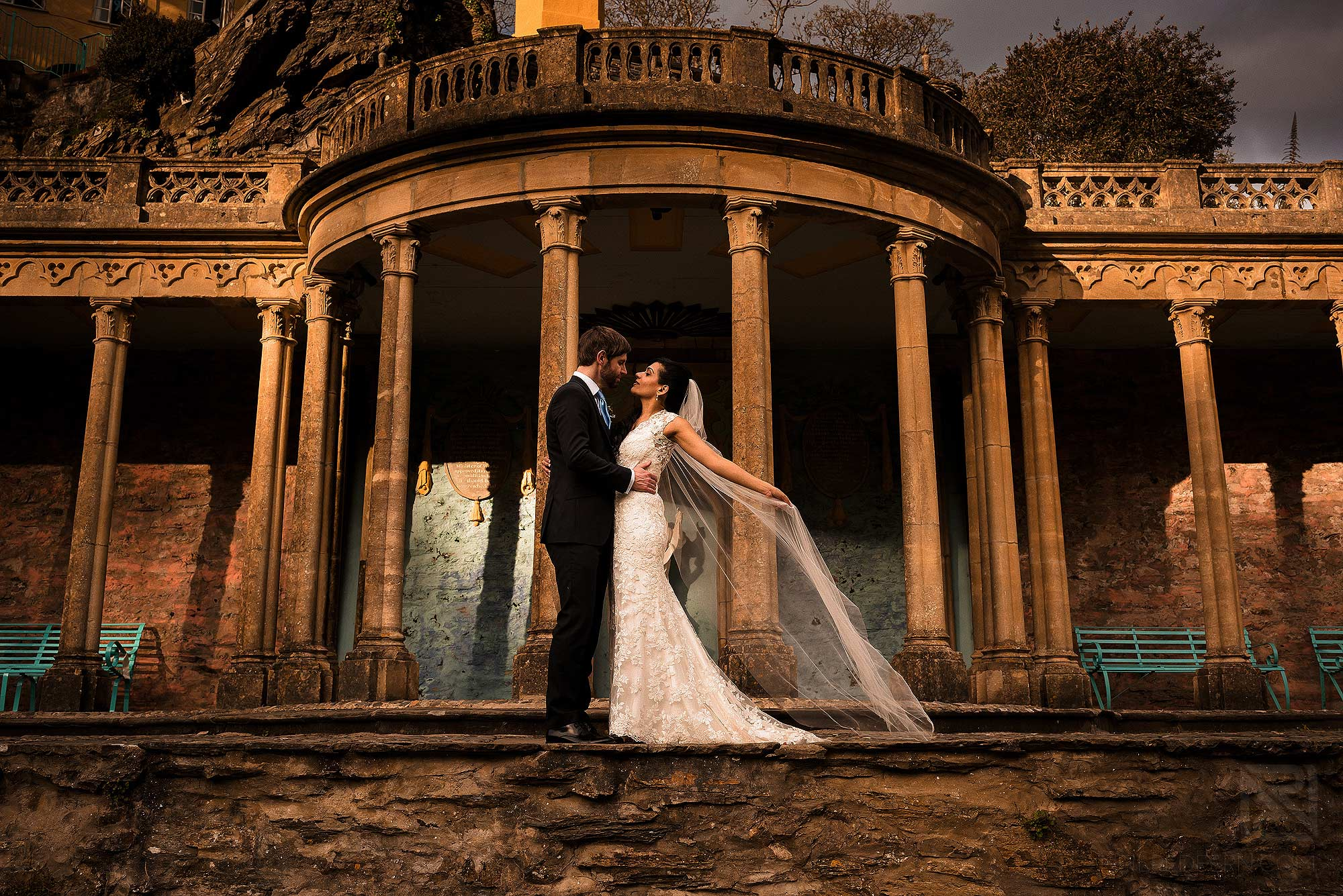 bride and groom together for evening portrait