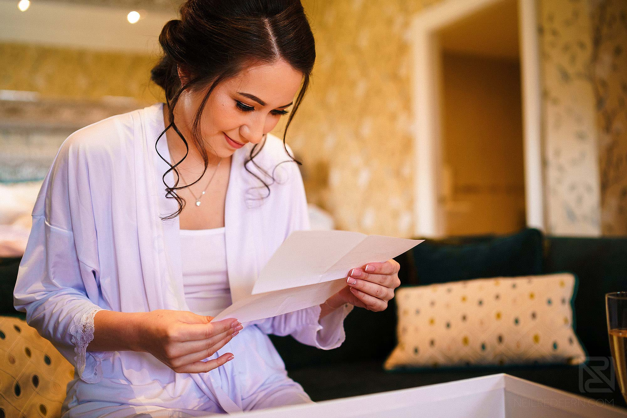 emotional bride reading letter from groom