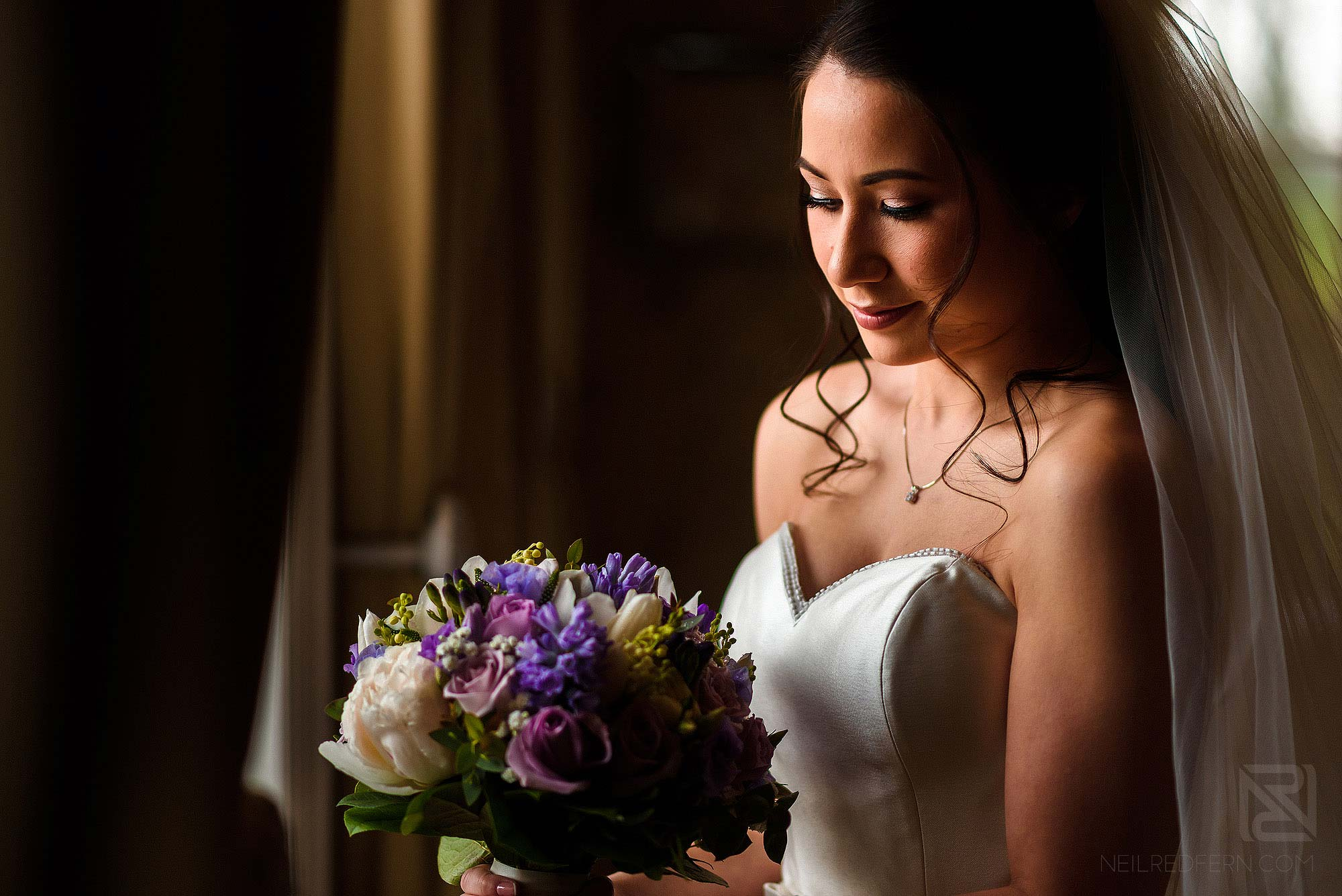beautiful portrait of bride just before getting married