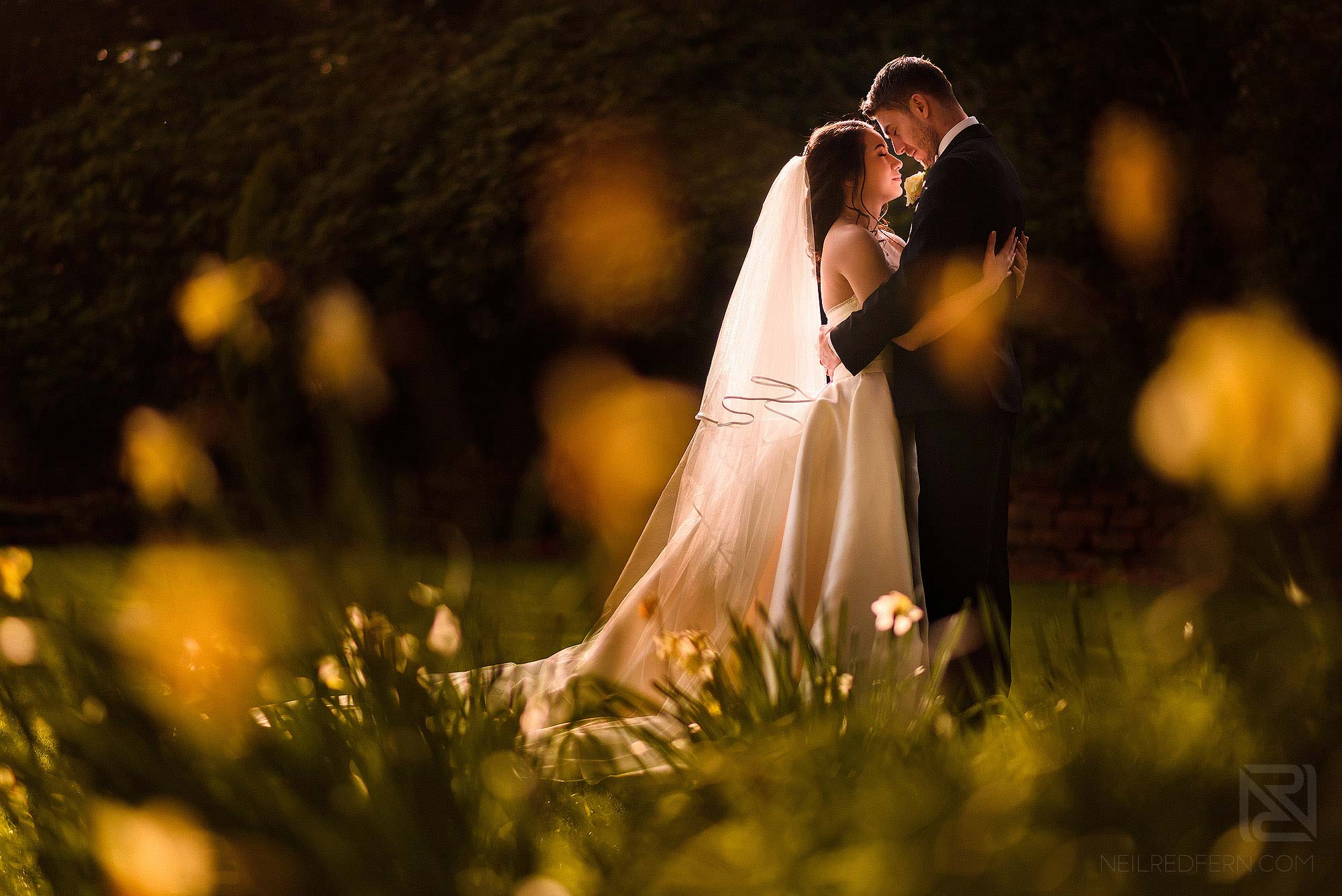 portrait of bride and groom in natural light