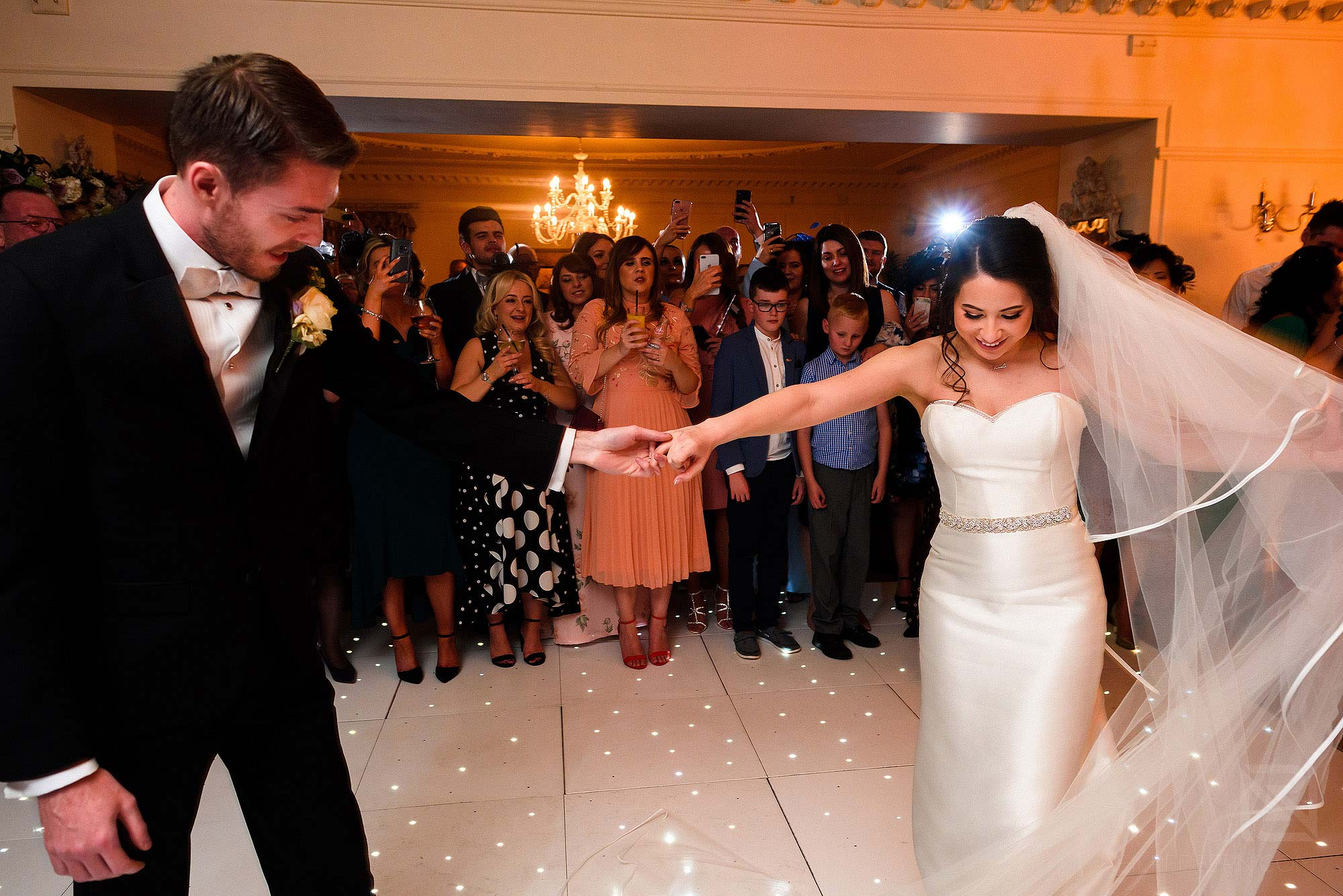bride and groom first dance at Eaves Hall