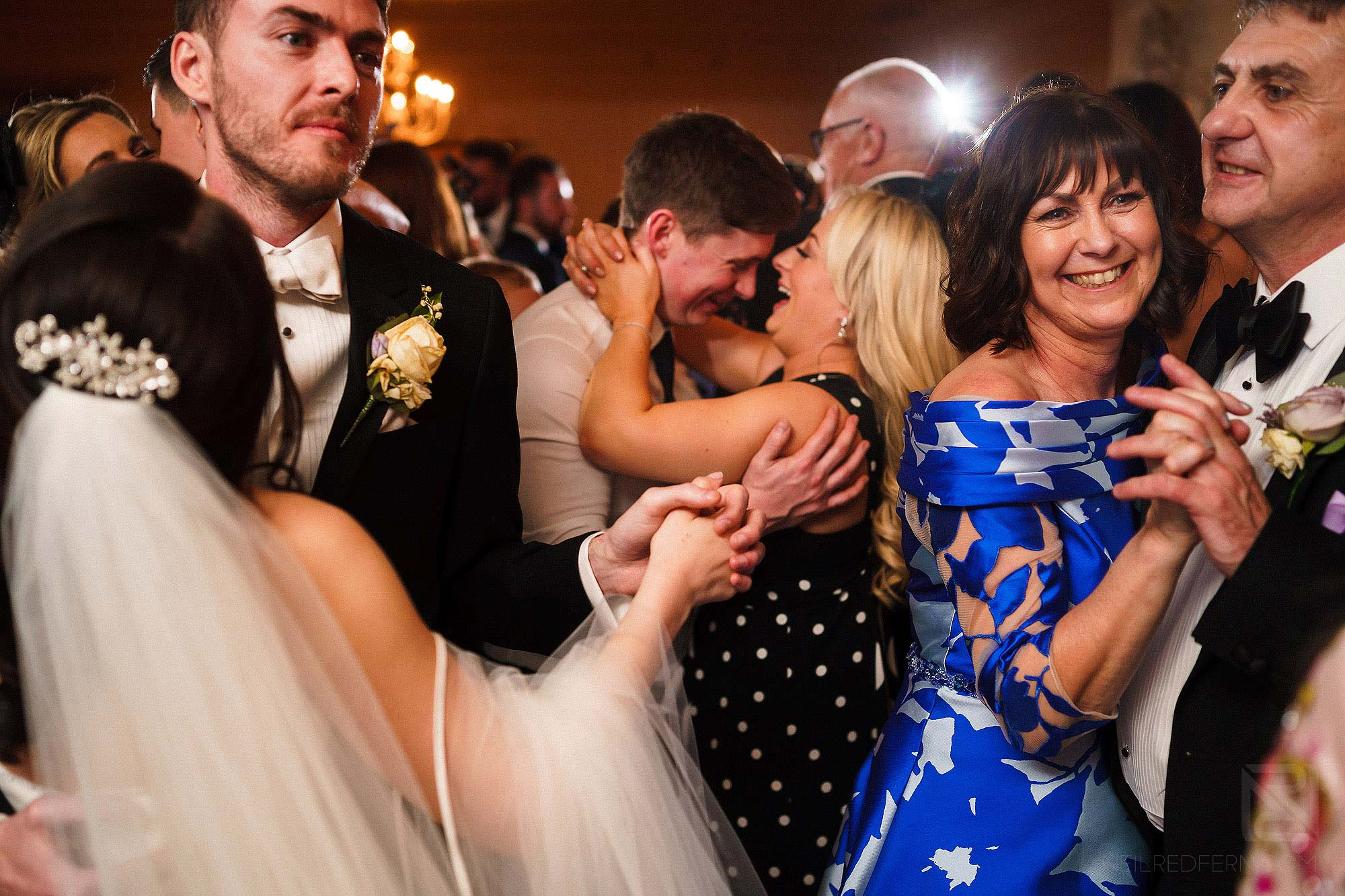 packed dancefloor at wedding at Eaves Hall in Lancashire