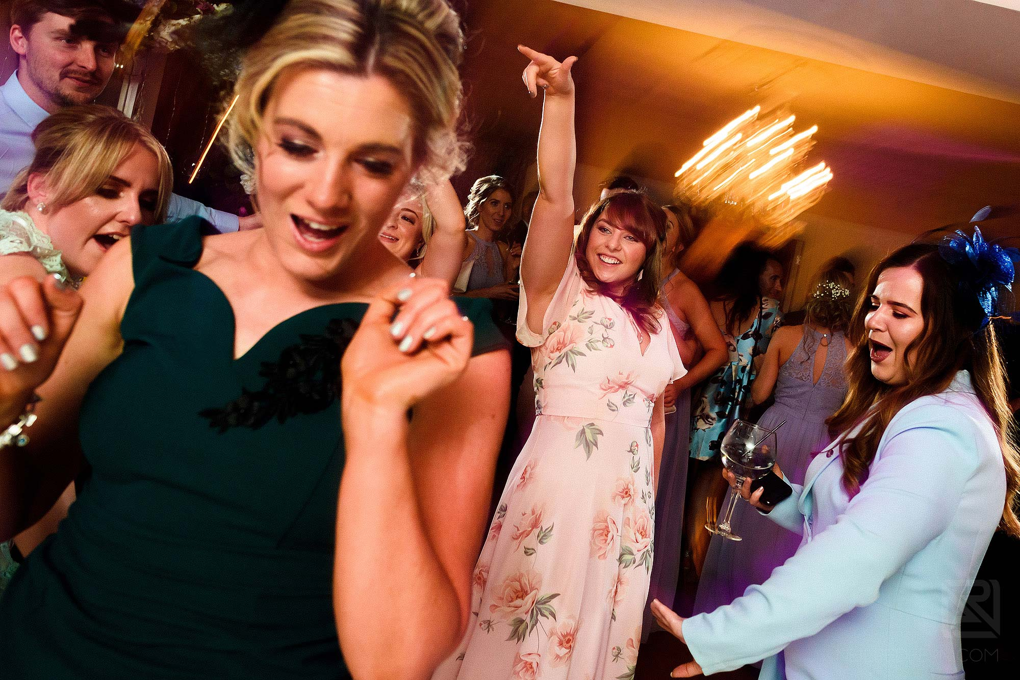 guests dancing during Eaves Hall wedding reception