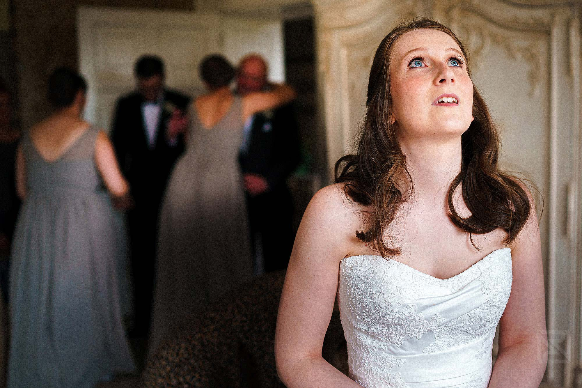 emotional bride on morning of wedding