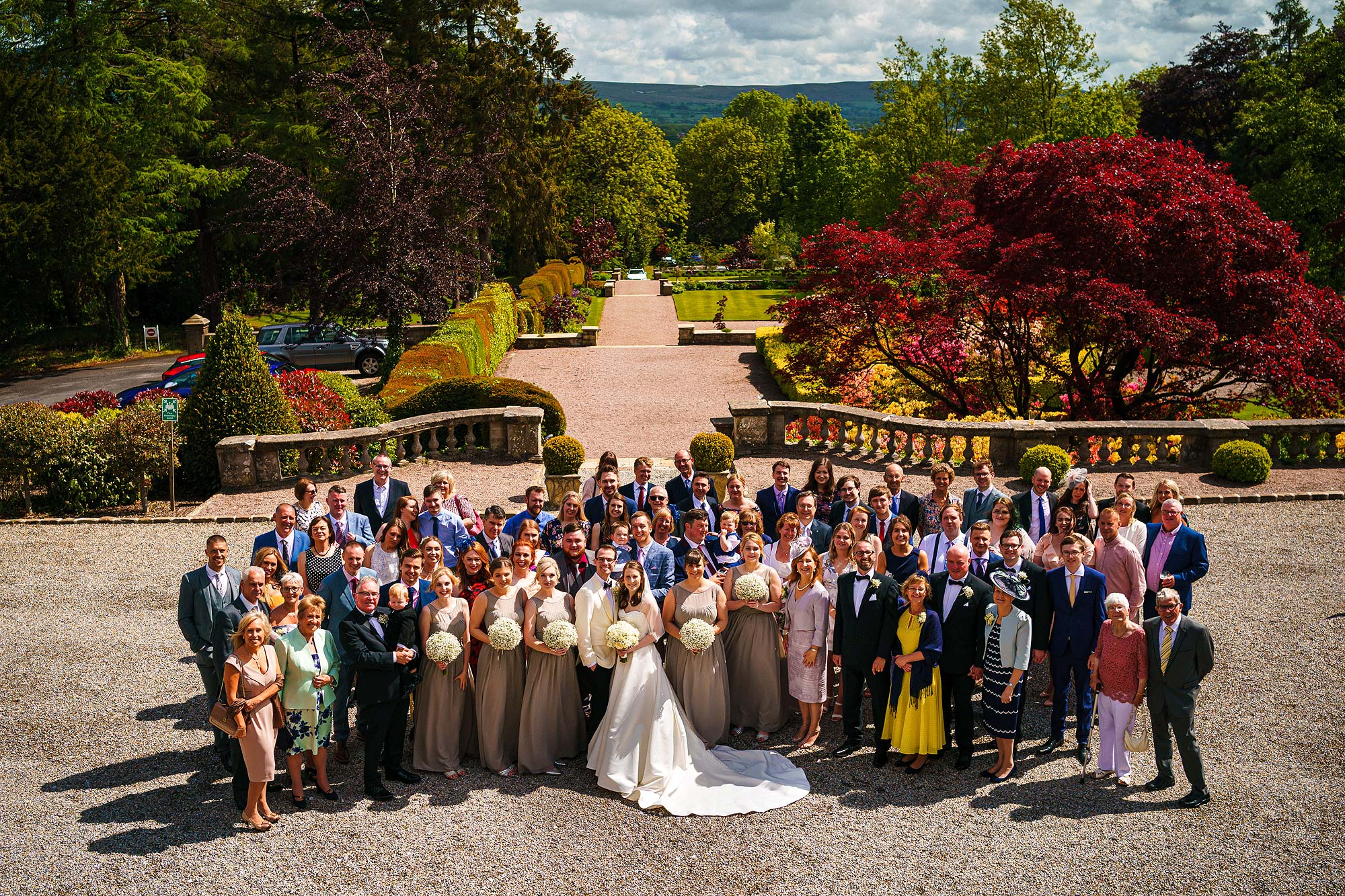 large group photograph of all wedding guests