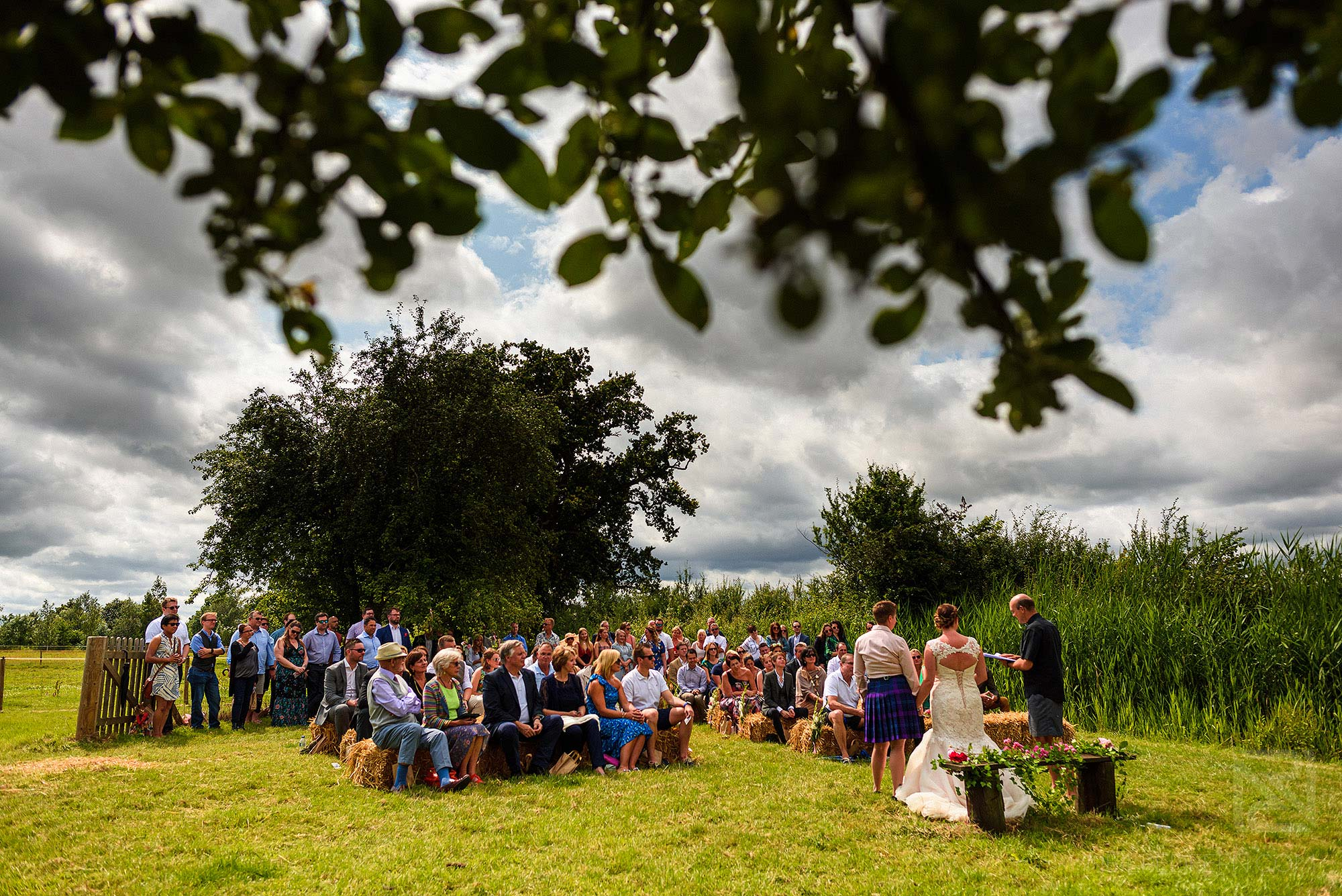 outside wedding ceremony on a farm
