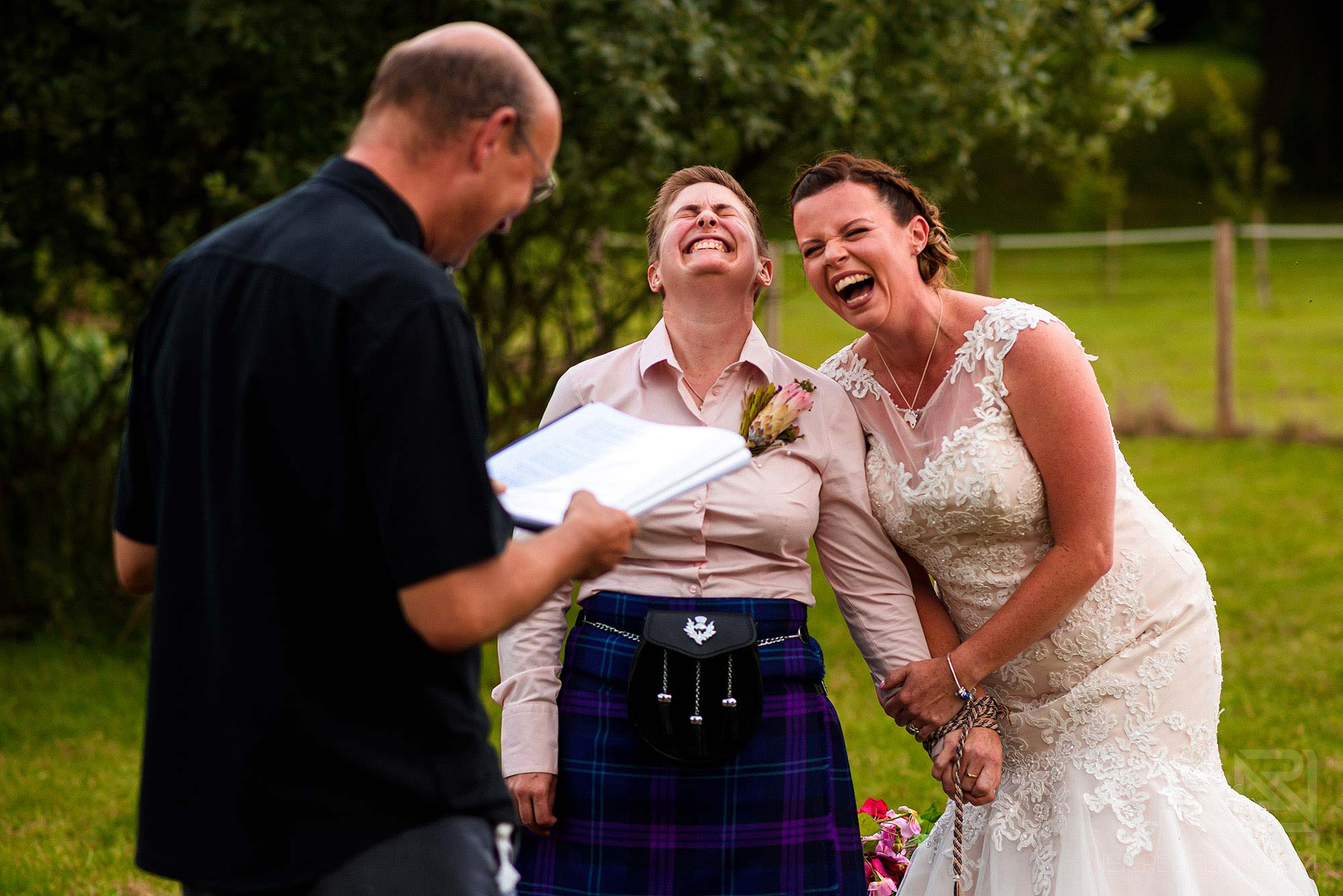 laughter and happiness during wedding ceremony