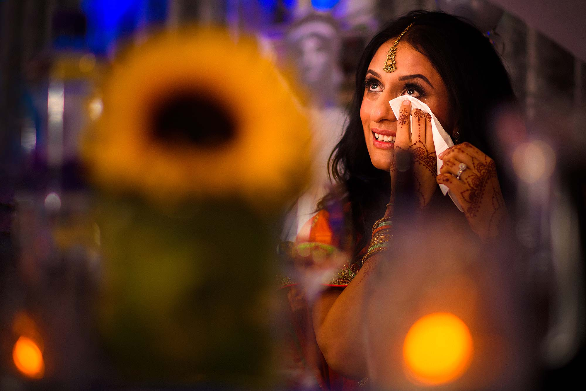 documentary photograph of bride crying during speeches
