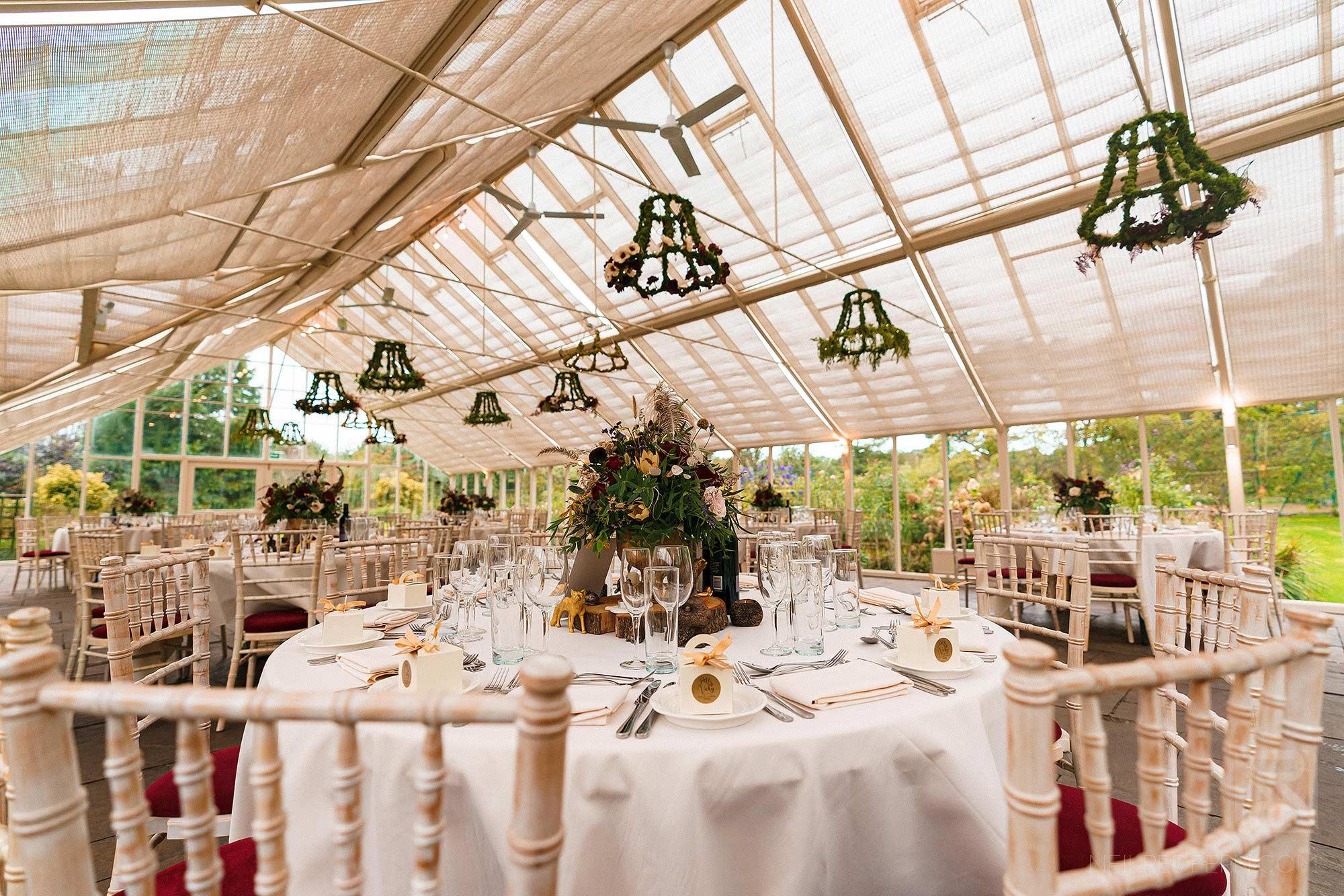 wedding breakfast room set up at Abbeywood Estate